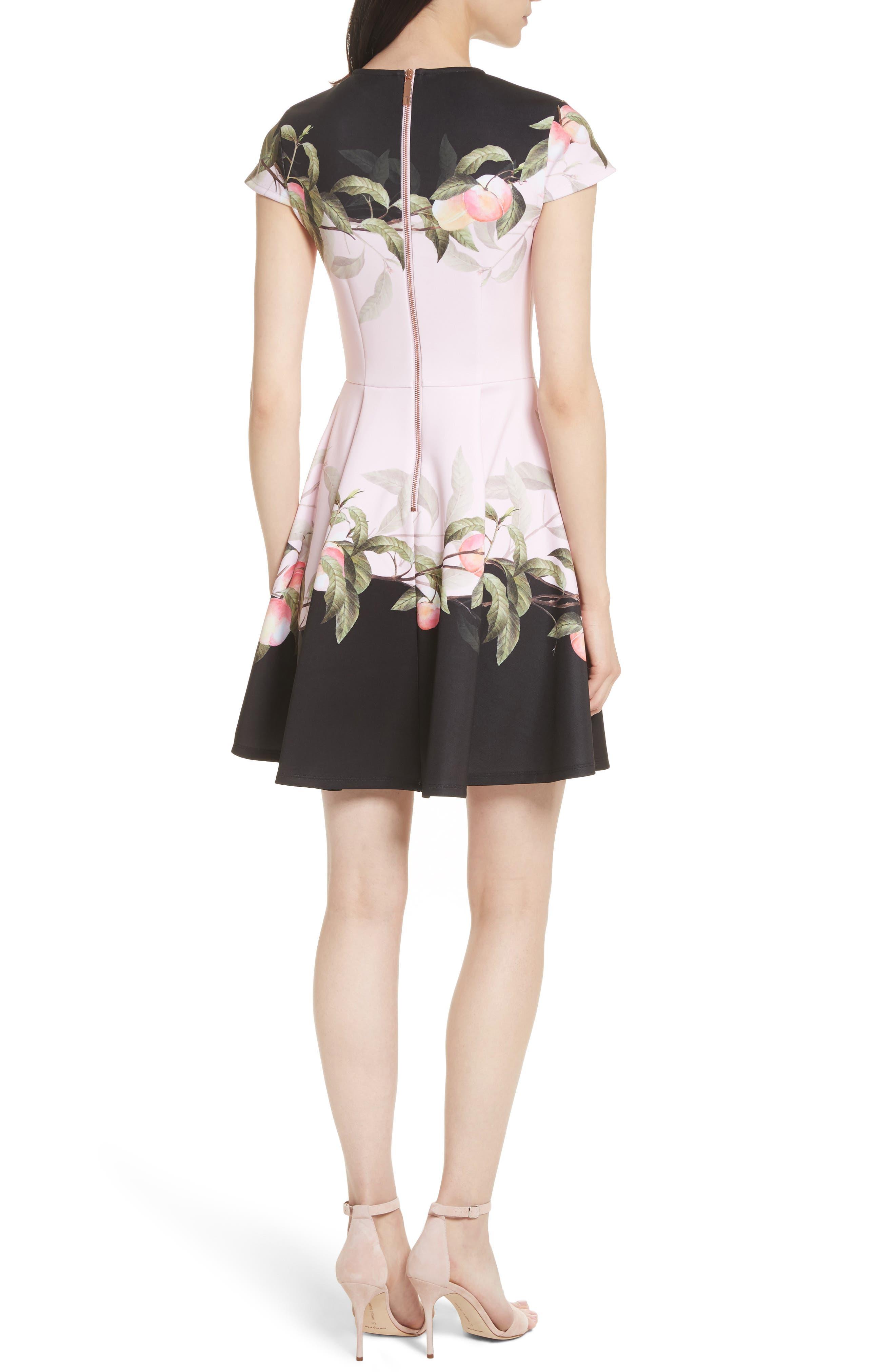 Peach Blossom Jersey Skater Dress,                             Alternate thumbnail 2, color,                             683