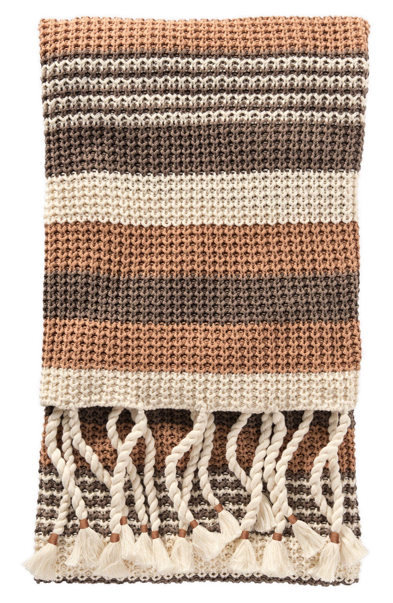Horizon Stripe Knit Throw,                             Main thumbnail 1, color,                             TAN MULTI