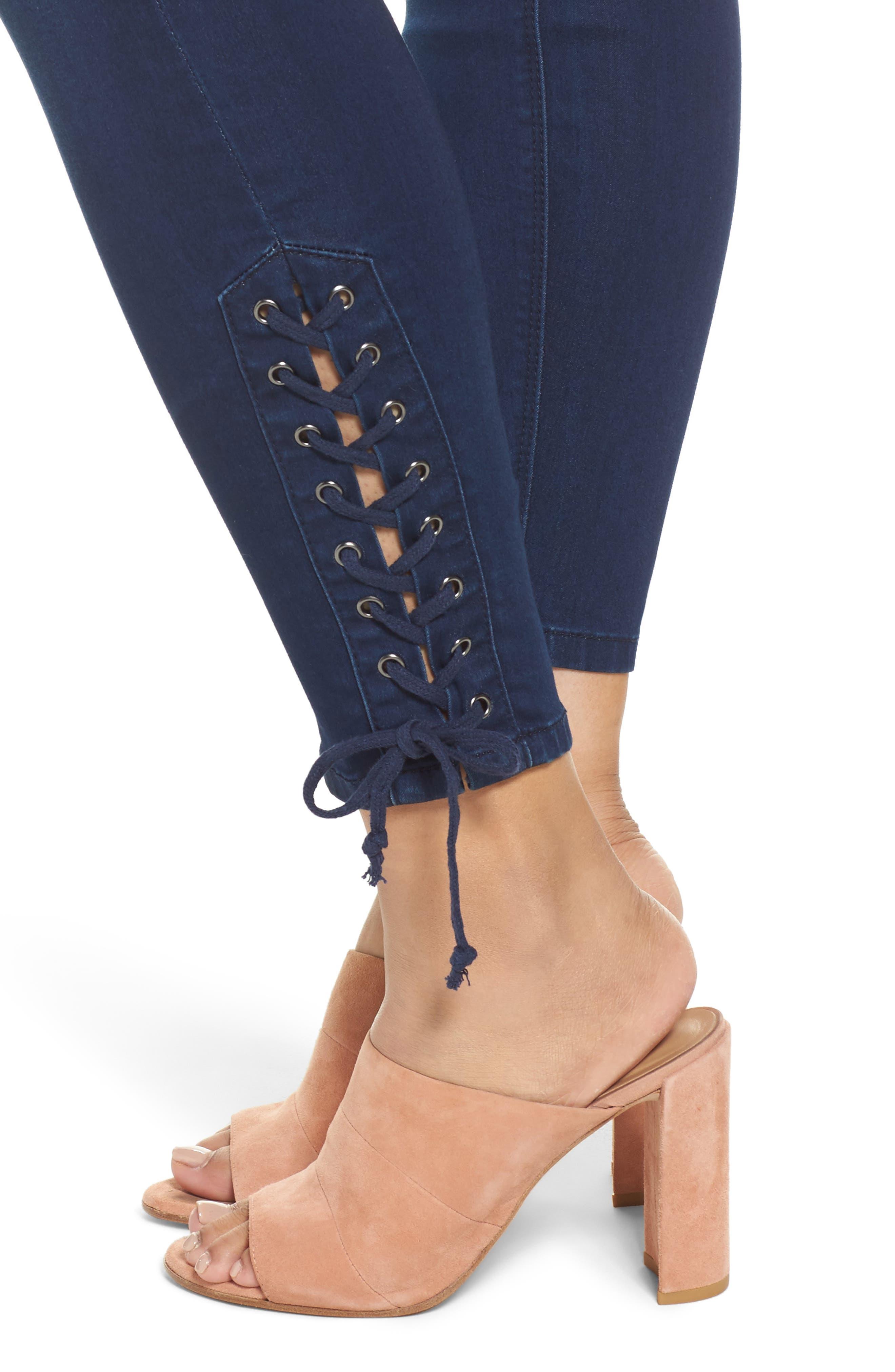 MELISSA MCCARTHY SEVEN7,                             Lace-Up Pencil Leg Jeans,                             Alternate thumbnail 4, color,                             405