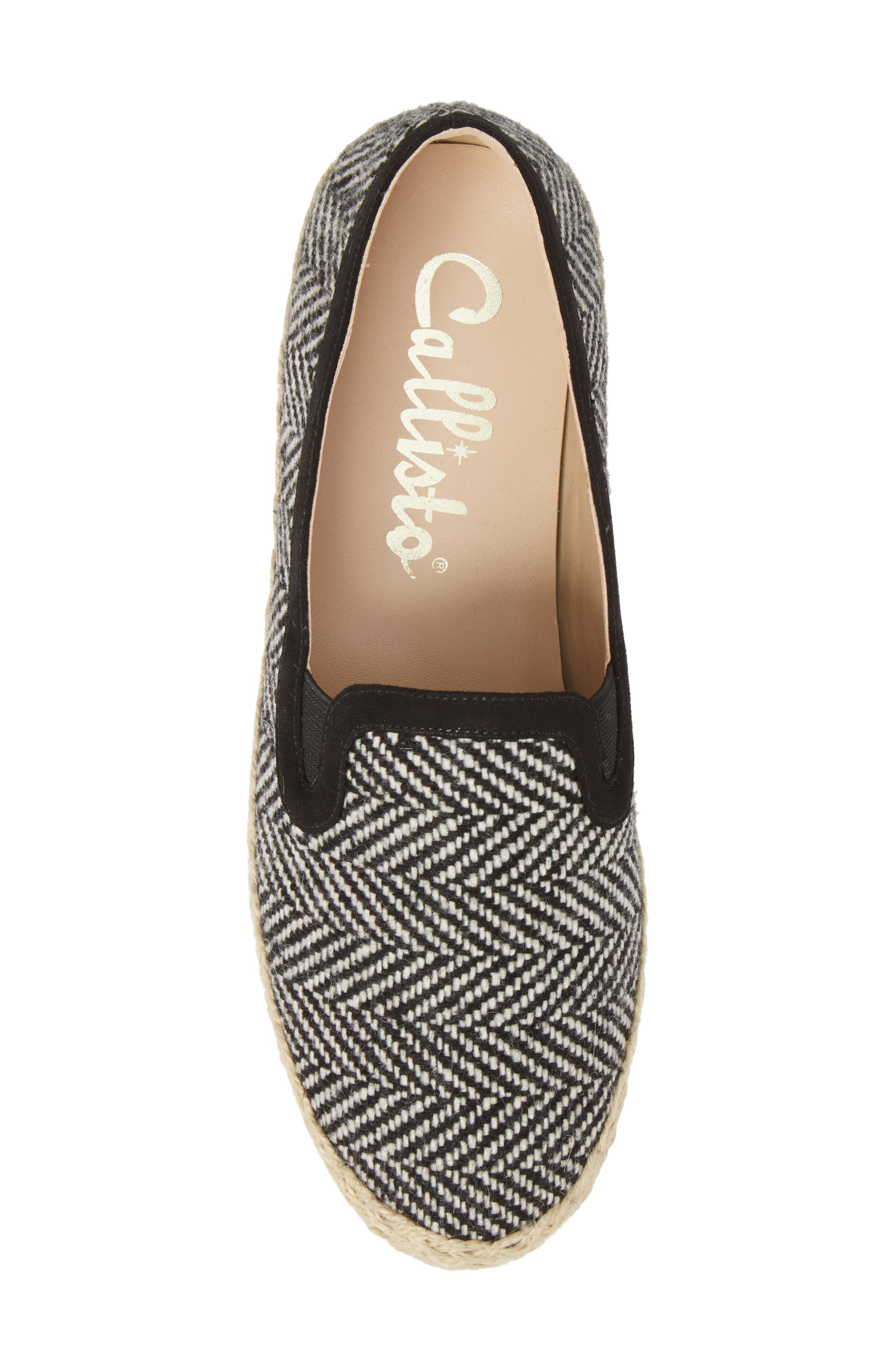 Tight Line Espadrille Flat,                             Alternate thumbnail 5, color,                             BLACK HOUNDSTOOTH FABRIC