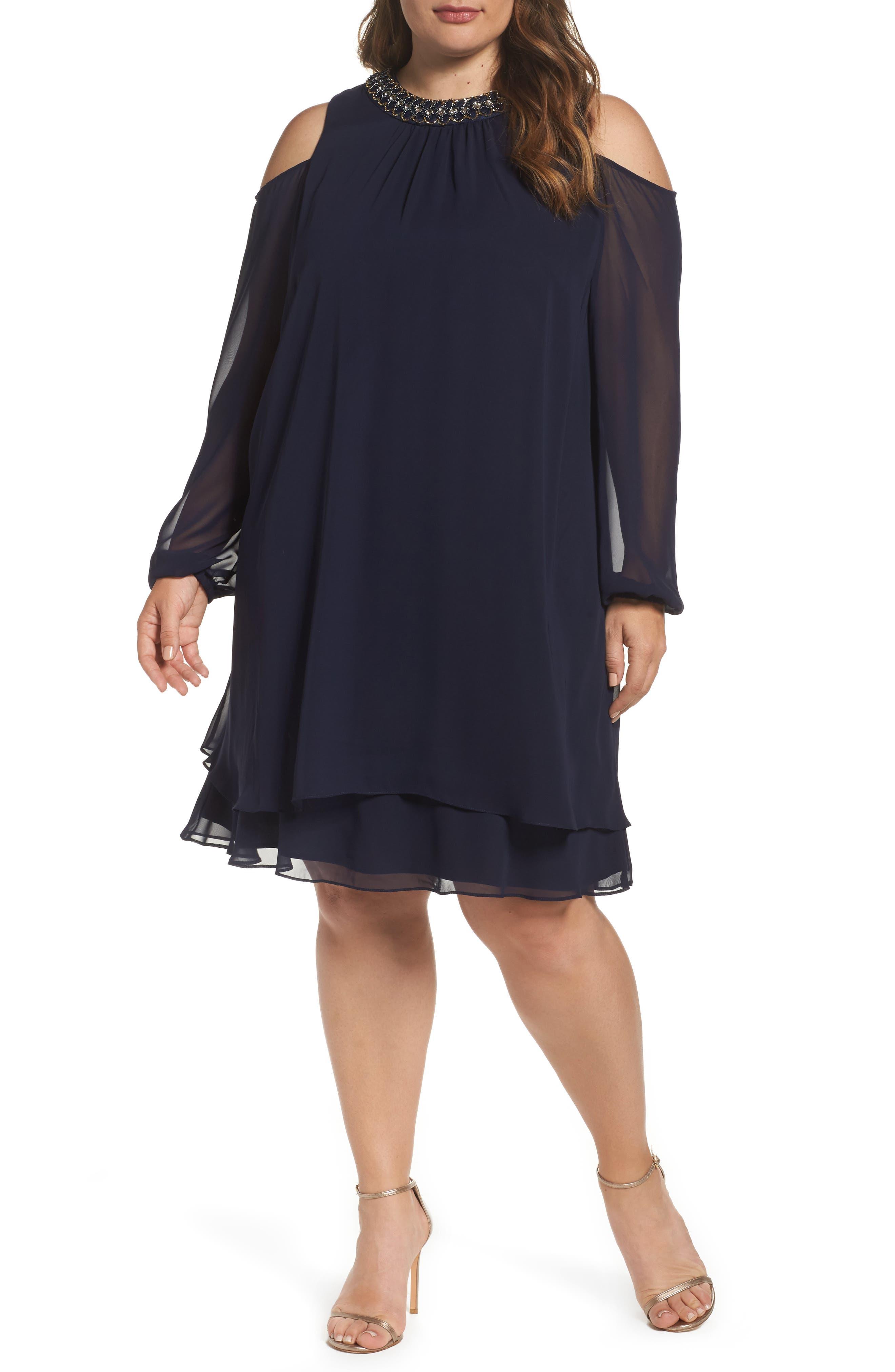 Embellished Cold Shoulder Shift Dress,                         Main,                         color, NAVY/ GOLD