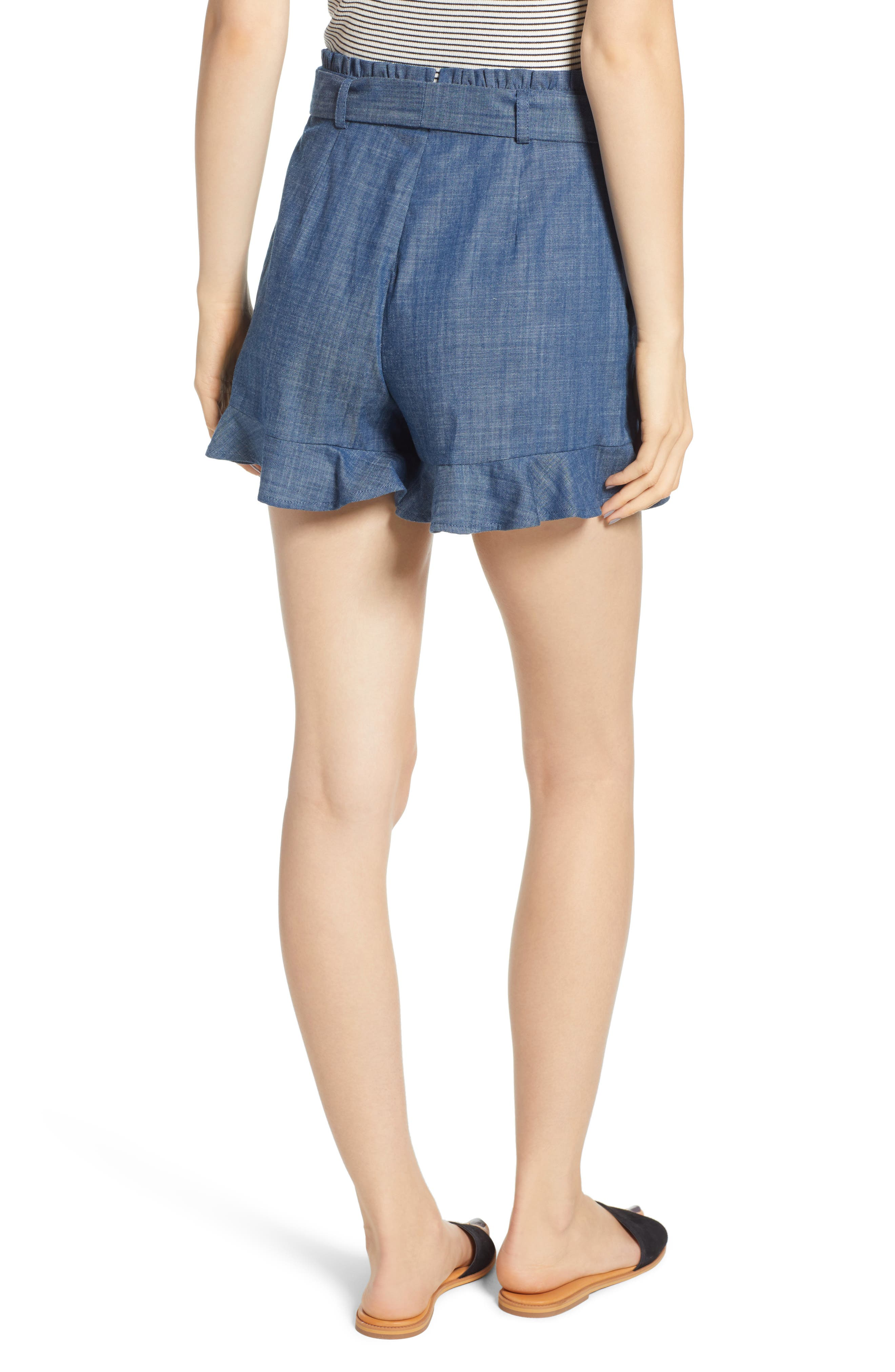Tie Waist Chambray Shorts,                             Alternate thumbnail 2, color,                             450