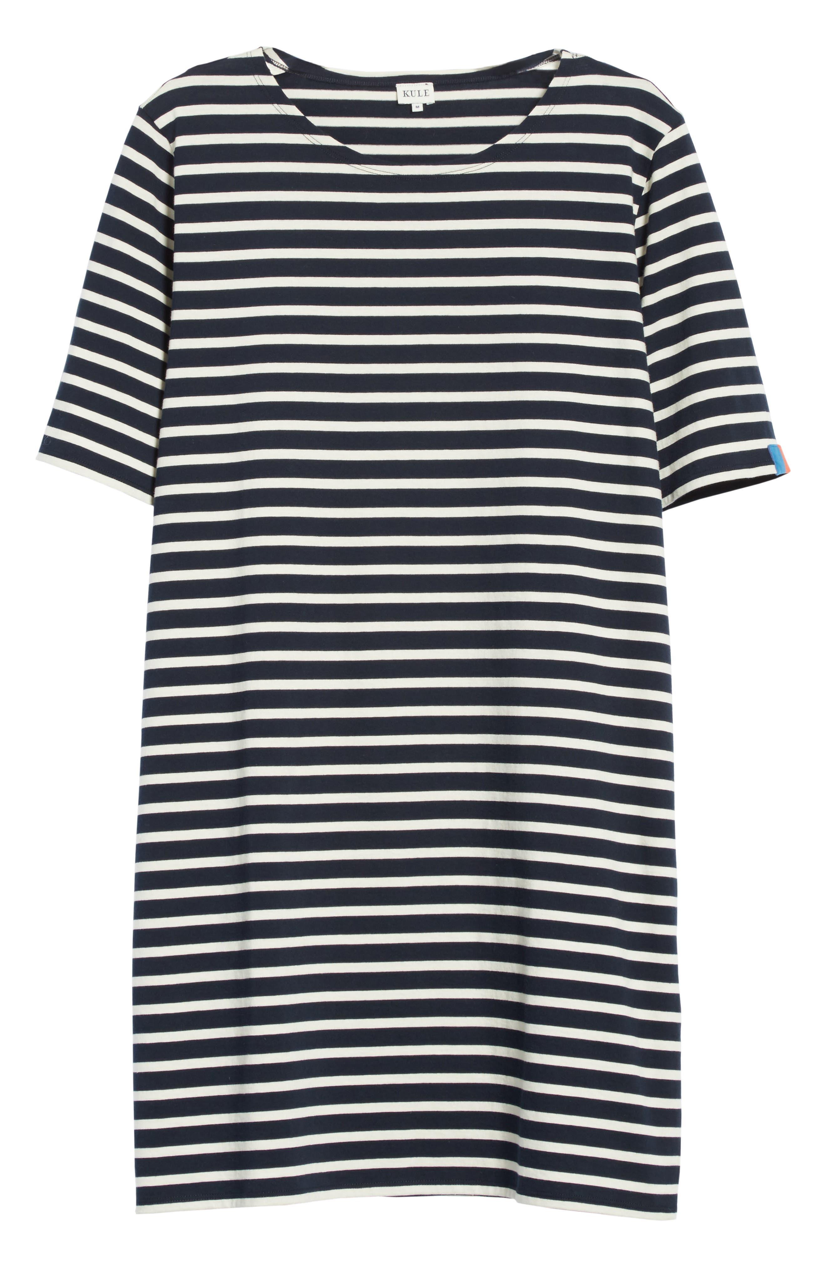 The Tee Stripe Dress,                             Alternate thumbnail 6, color,                             NAVY/ CREAM