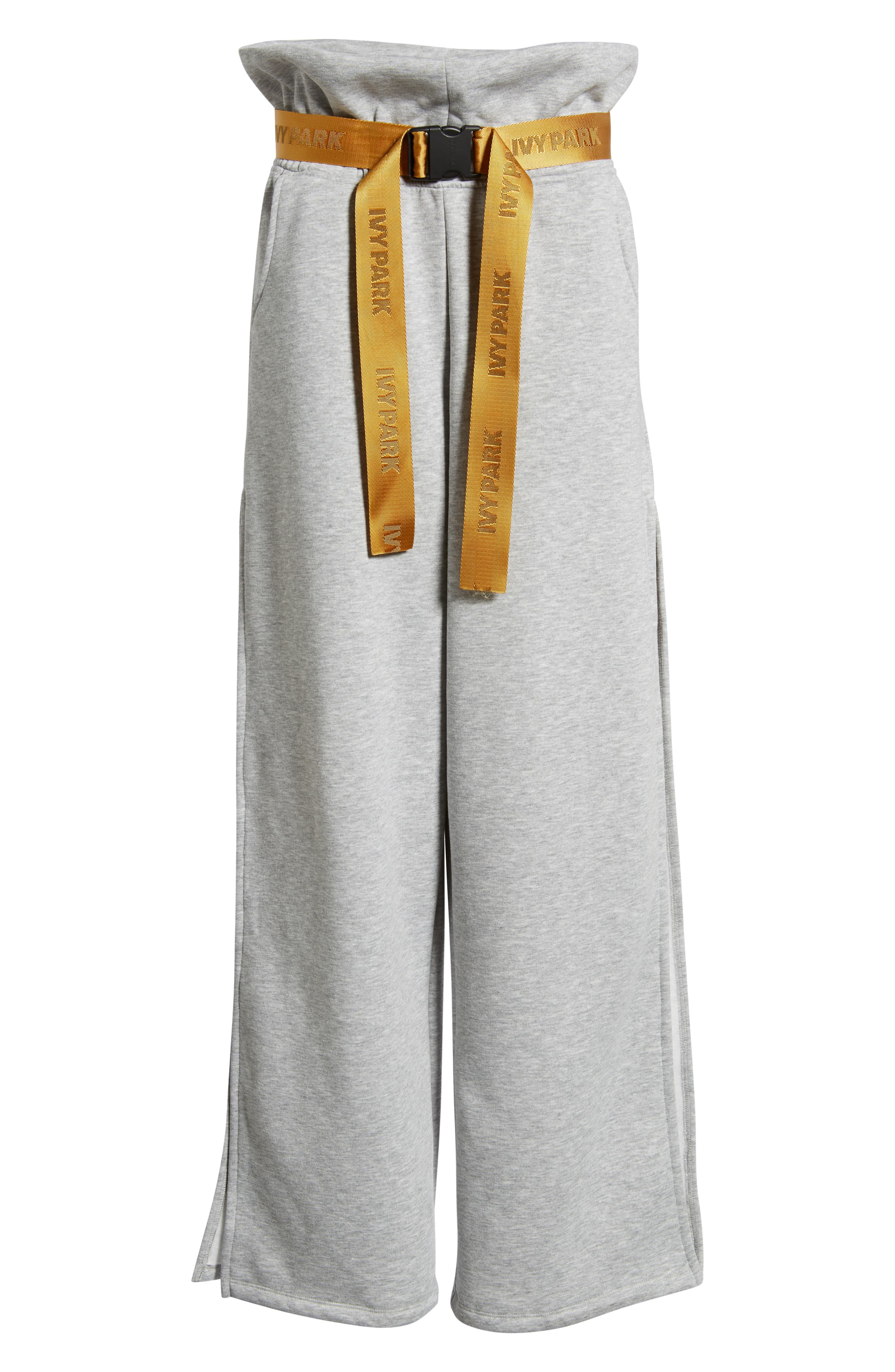 IVY PARK<SUP>®</SUP>,                             Paperbag Waist Split Leg Joggers,                             Alternate thumbnail 7, color,                             LIGHT GREY MARL