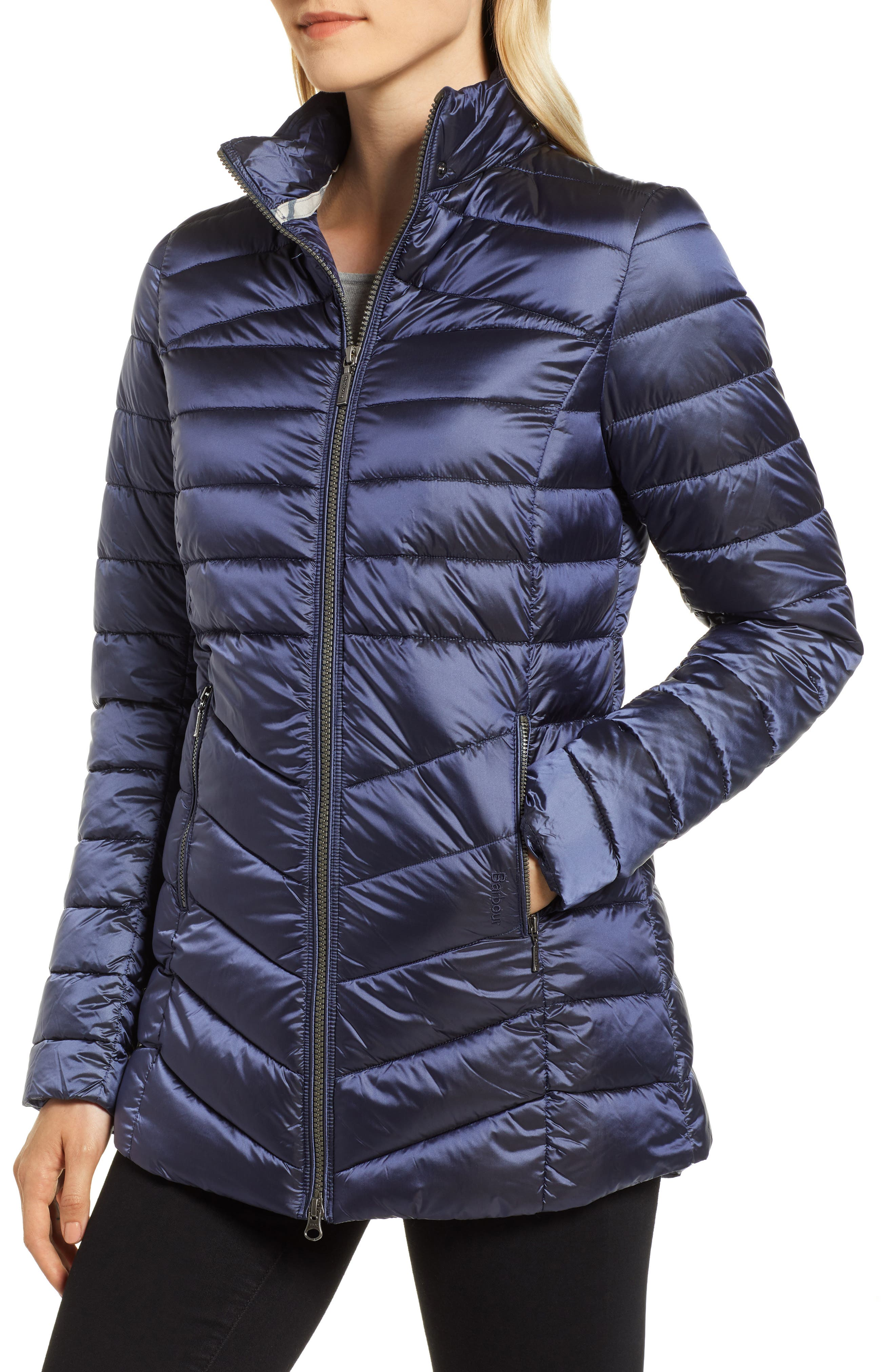 Ailith Quilted Jacket,                             Alternate thumbnail 4, color,                             ROYAL NAVY