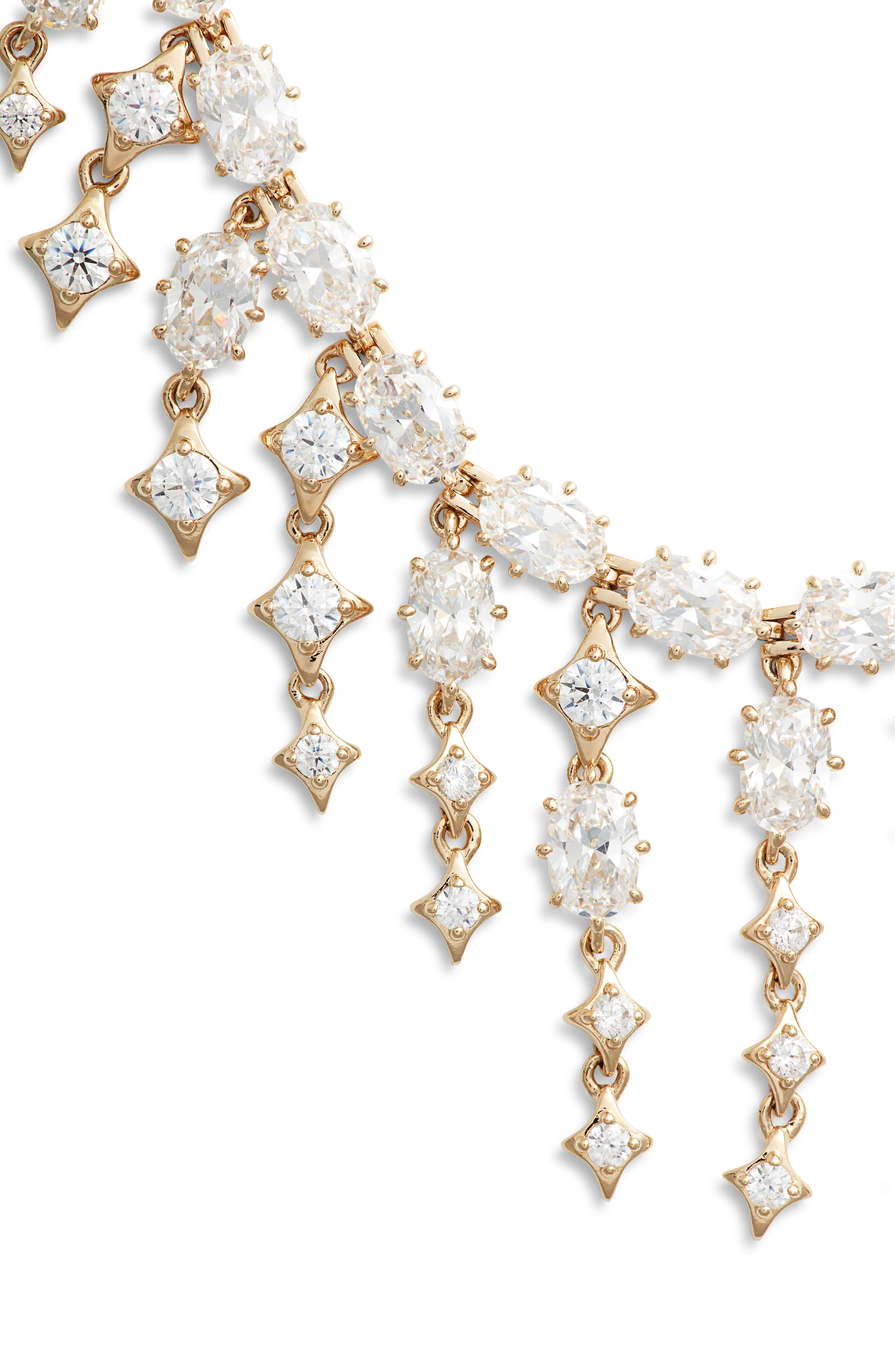 Crystal Fringe Necklace,                             Alternate thumbnail 2, color,                             GOLD/ CLEAR
