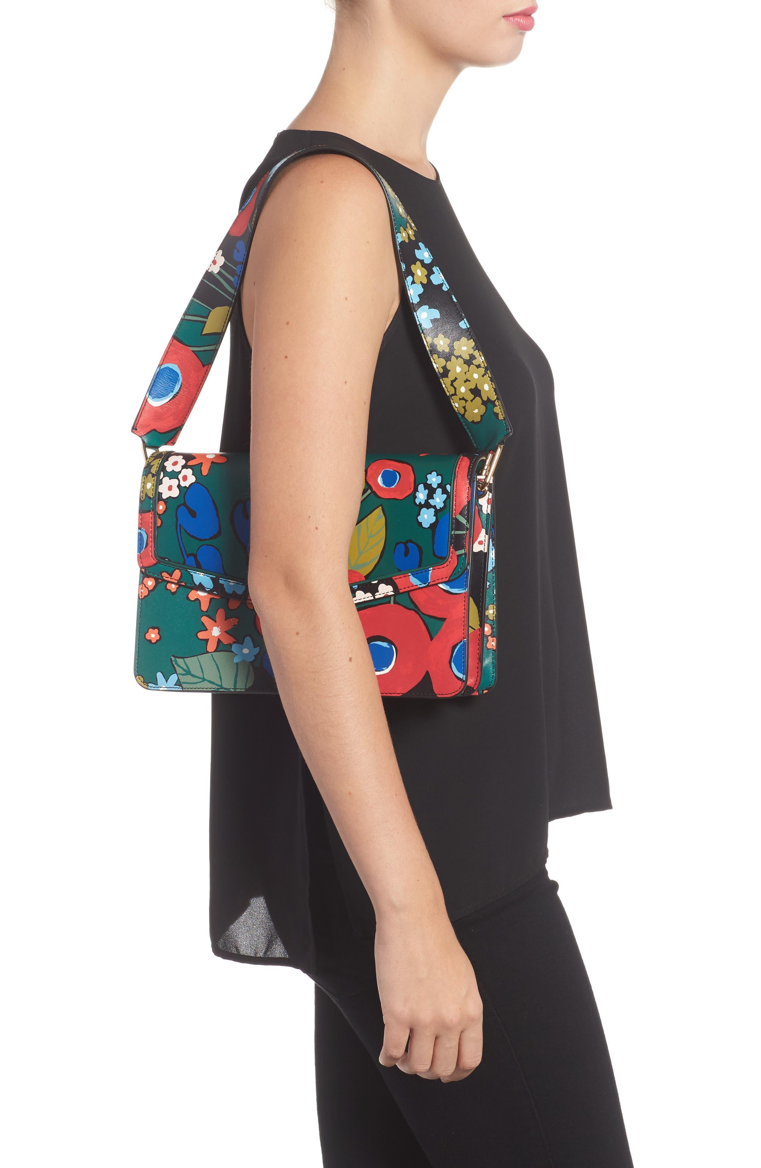 Juliette Flower Print Leather Shoulder Bag,                             Alternate thumbnail 2, color,                             300