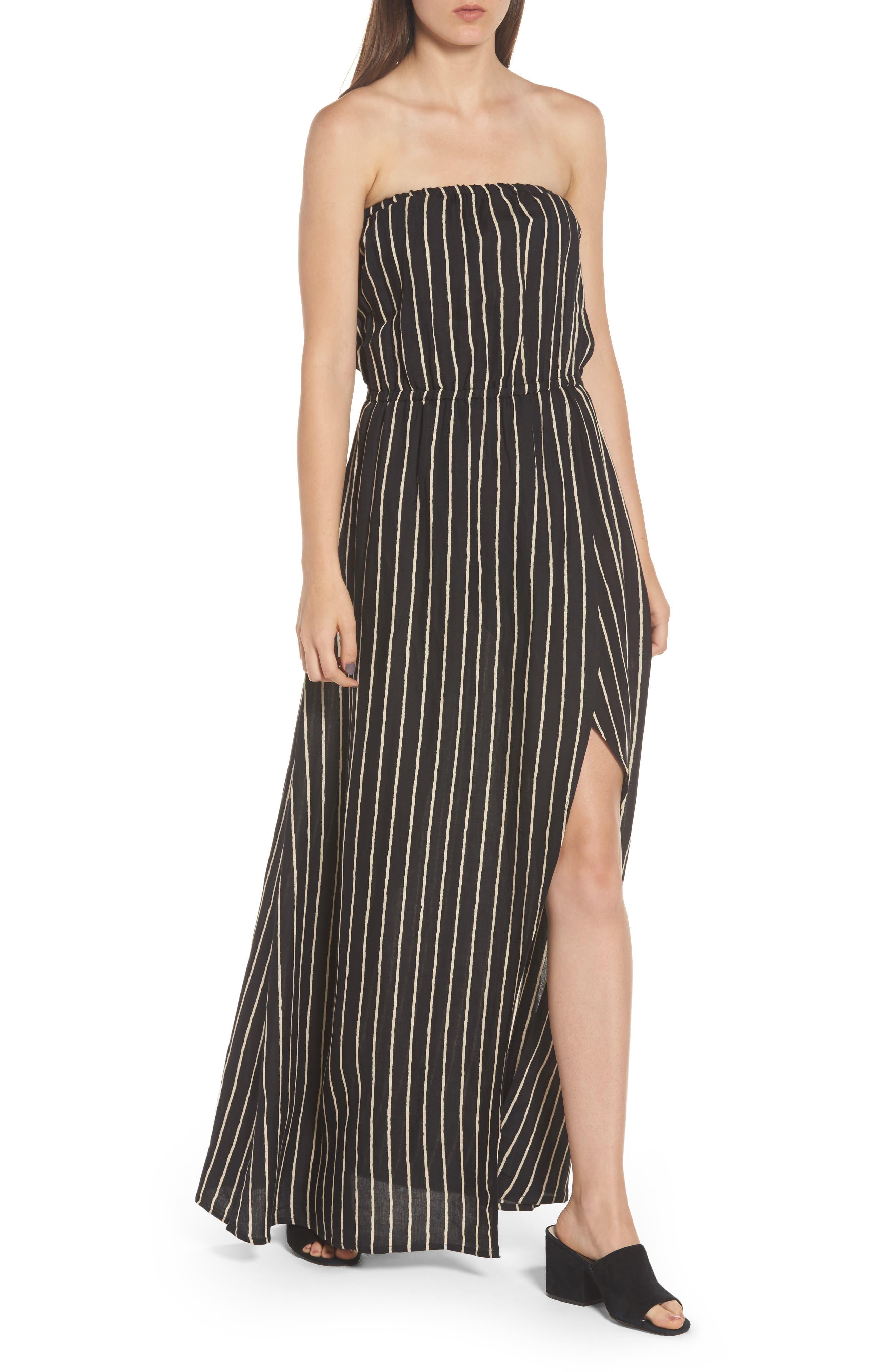 Strapless Faux Wrap Maxi Dress,                             Alternate thumbnail 4, color,