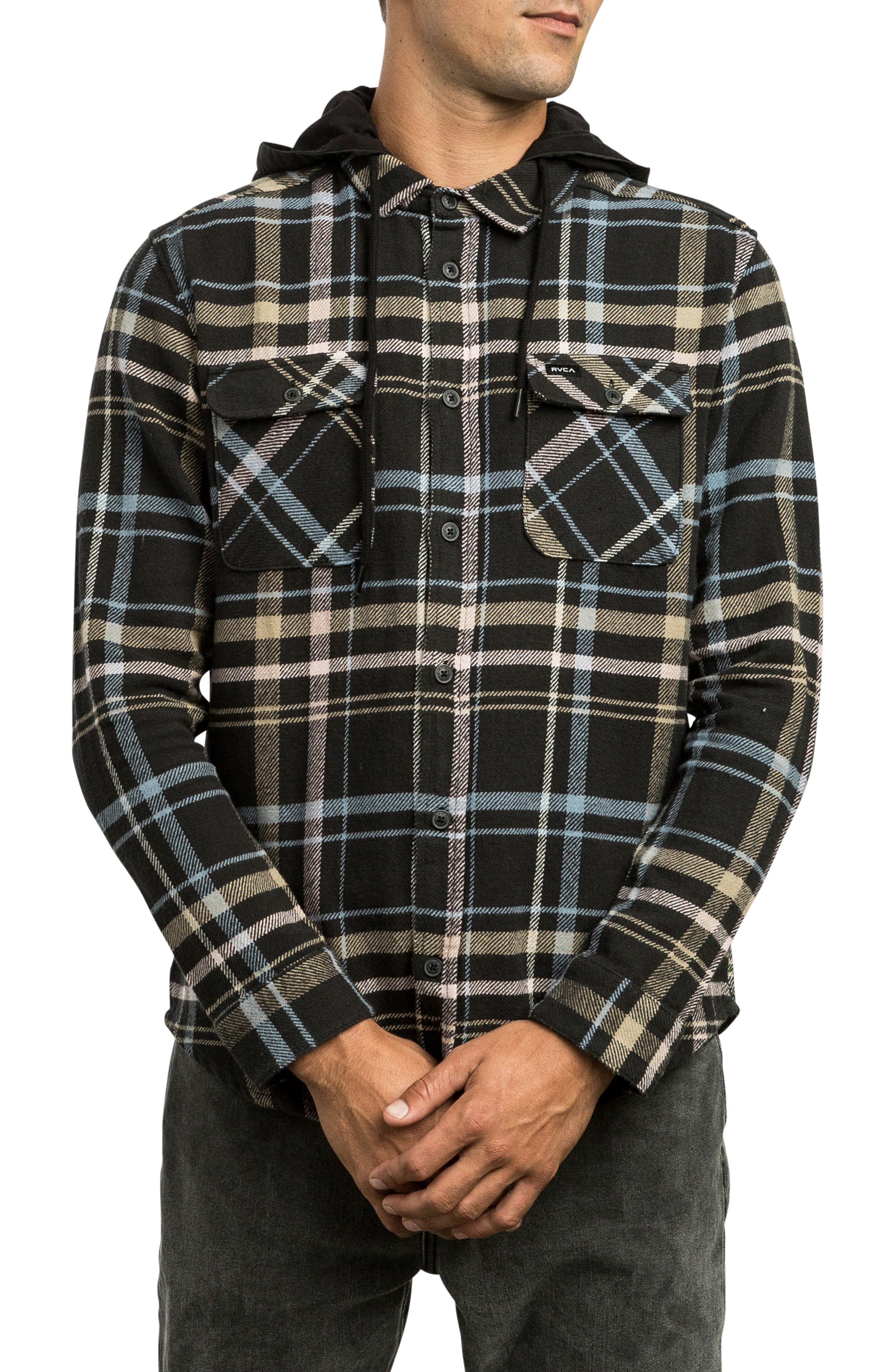 Rvca Essex Hooded Flannel Shirt, Grey