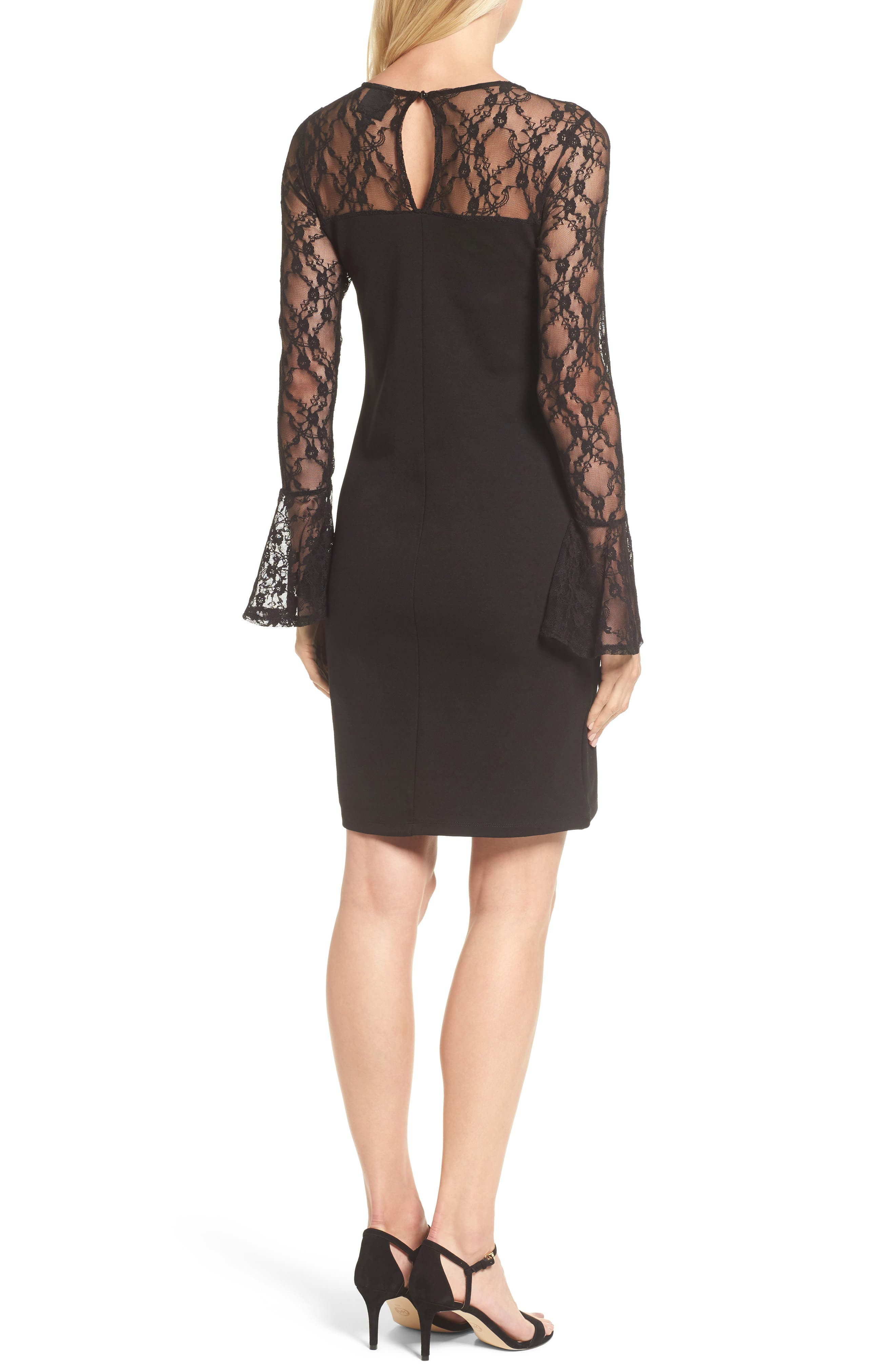 Flared Cuff Lace Sleeve Dress,                             Alternate thumbnail 2, color,                             001