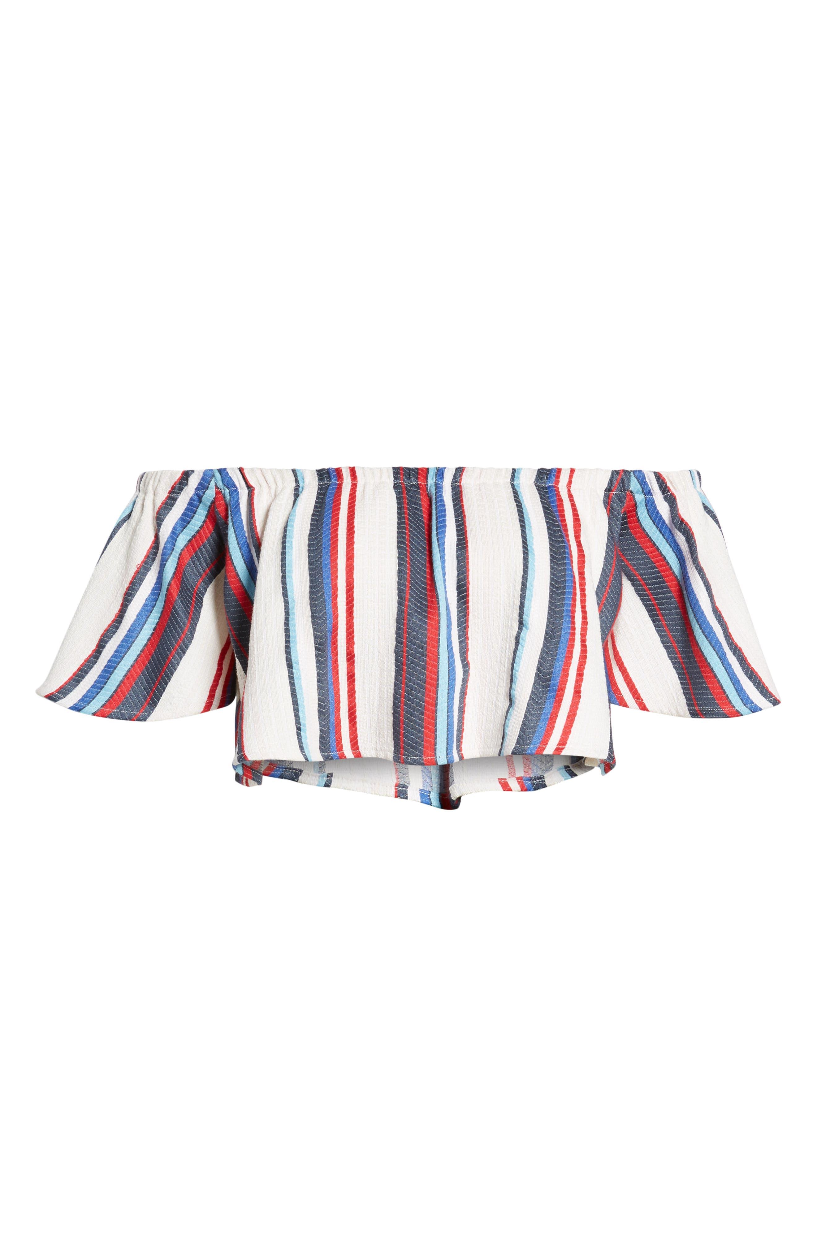 LOST + WANDER,                             Azul Stripe Off the Shoulder Crop Top,                             Alternate thumbnail 7, color,                             400