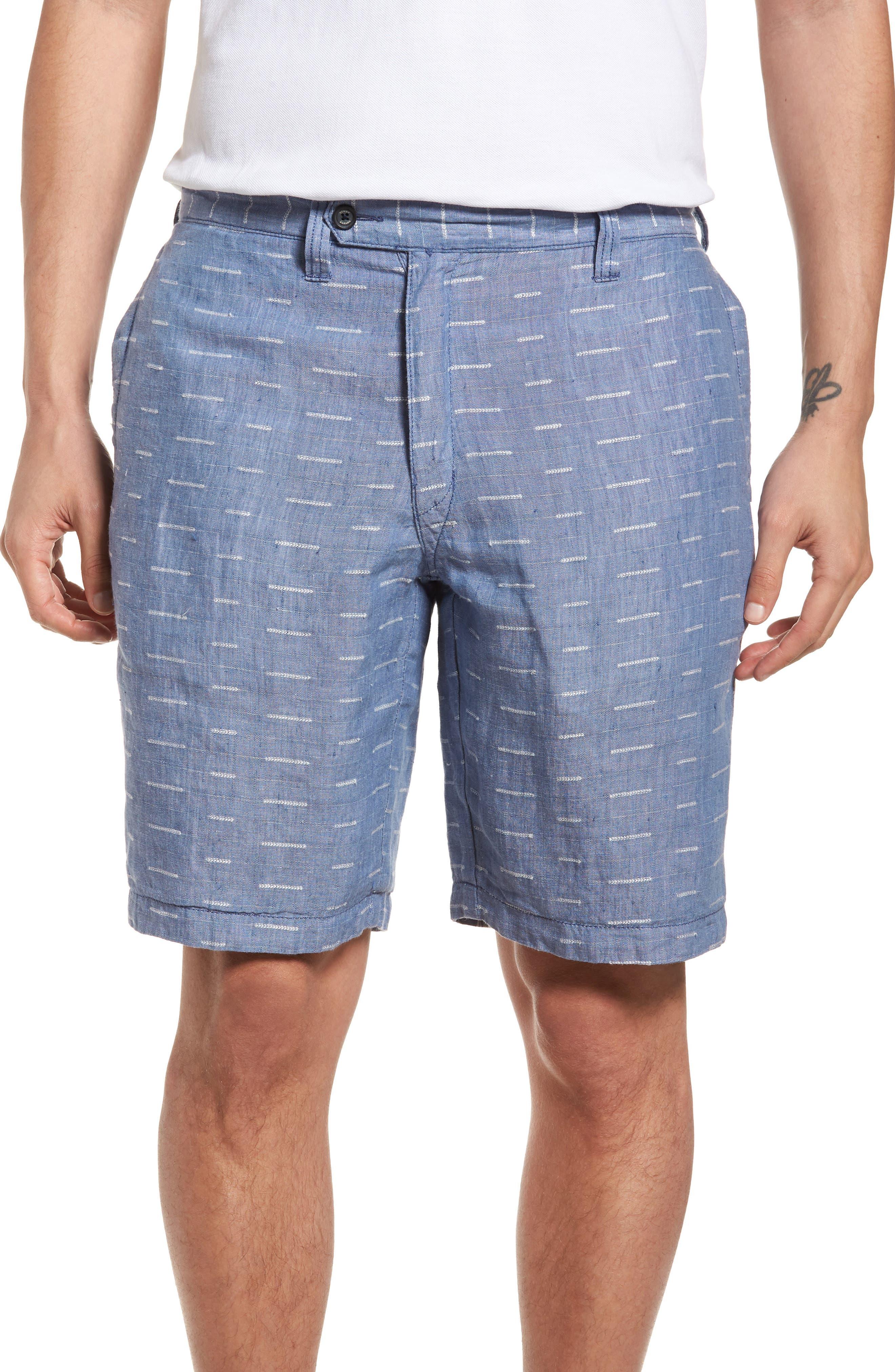 Plaid de Leon Reversible Linen Shorts,                             Alternate thumbnail 4, color,                             401