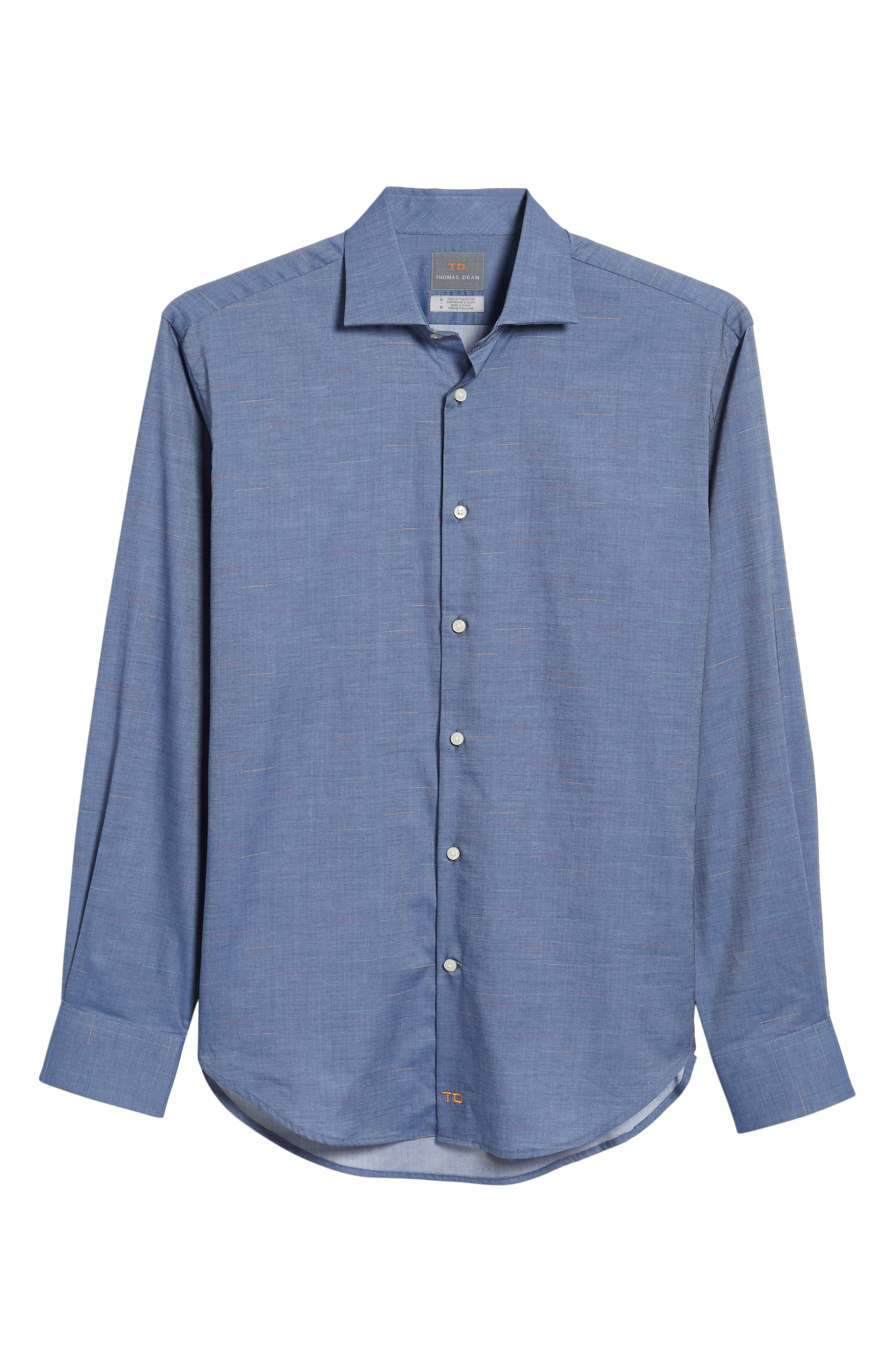 Regular Fit Chambray Sport Shirt,                             Alternate thumbnail 6, color,                             400