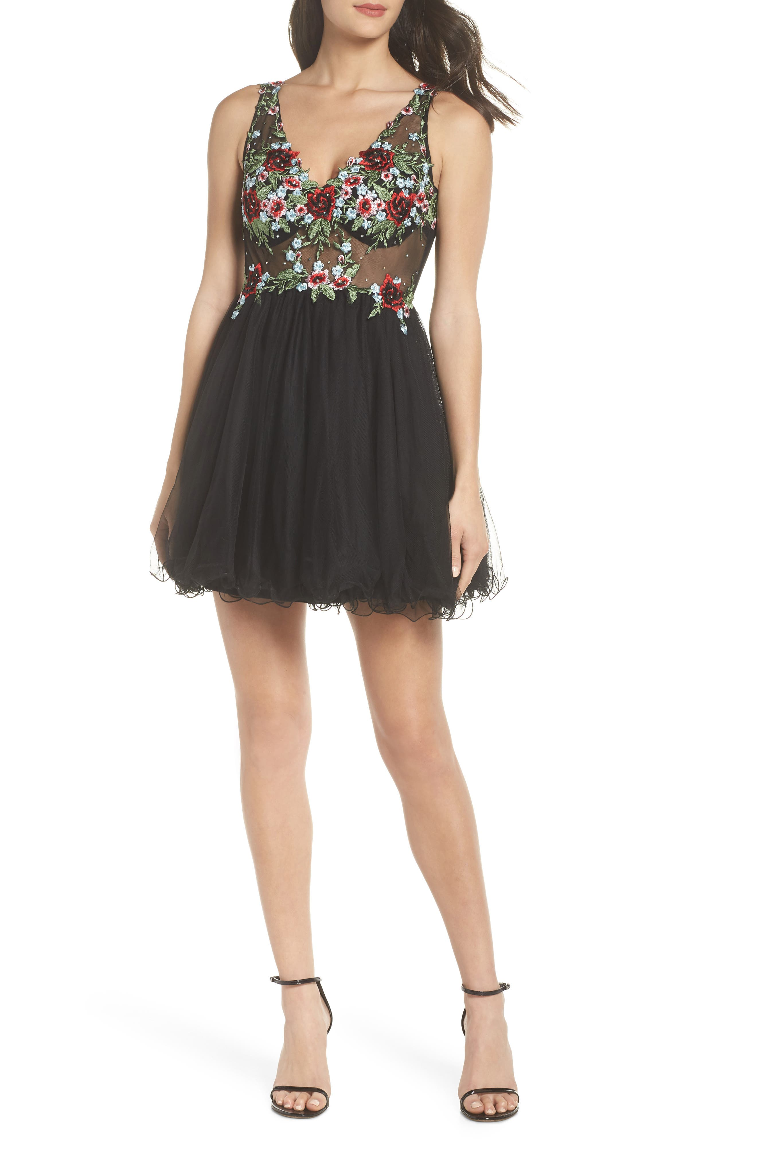Embroidered Fit & Flare Dress,                             Main thumbnail 1, color,                             BLACK/ MULTI