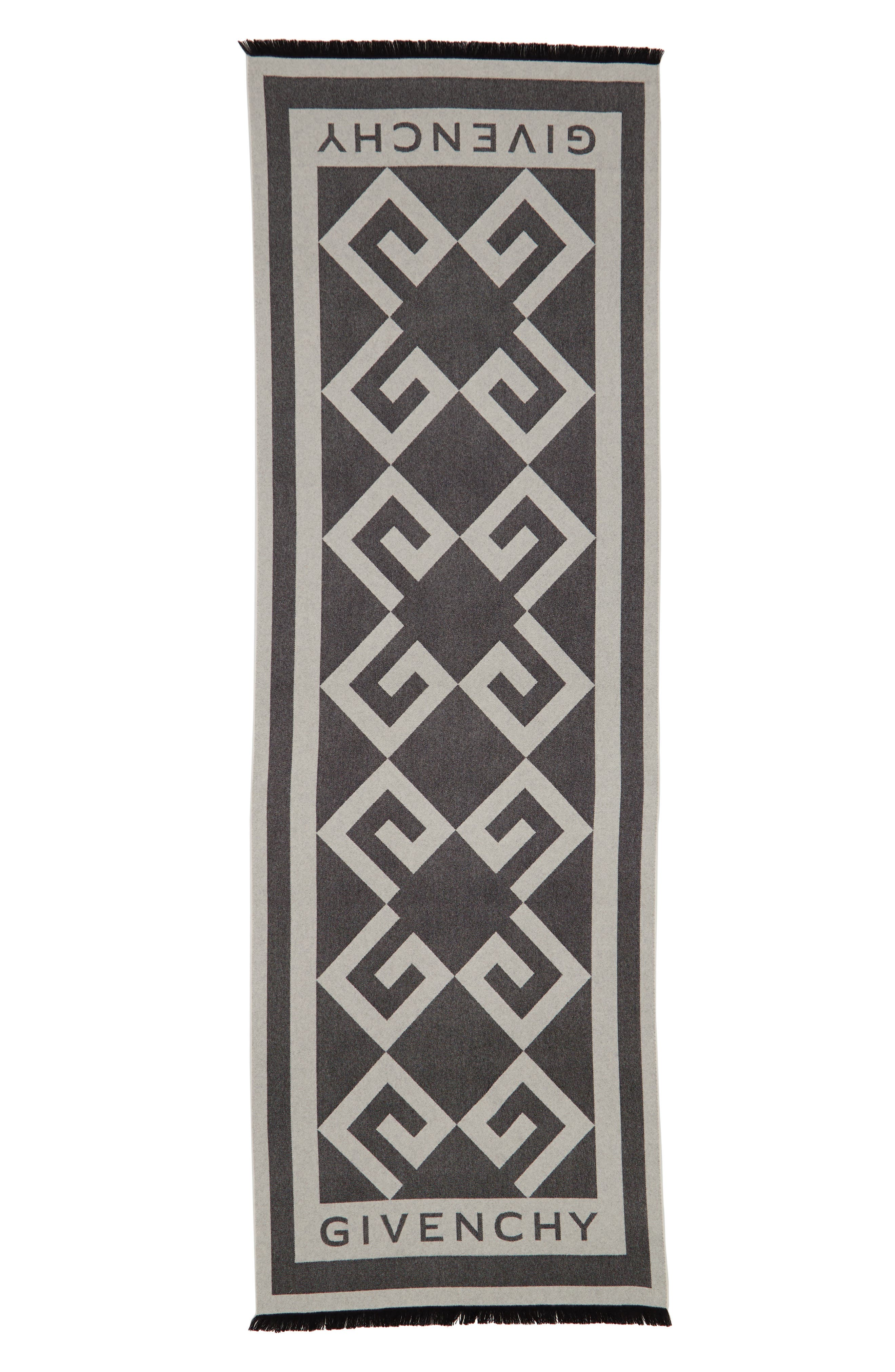 GIVENCHY,                             Nouveau G Wool & Cashmere Scarf,                             Alternate thumbnail 3, color,                             BLACK/ WHITE