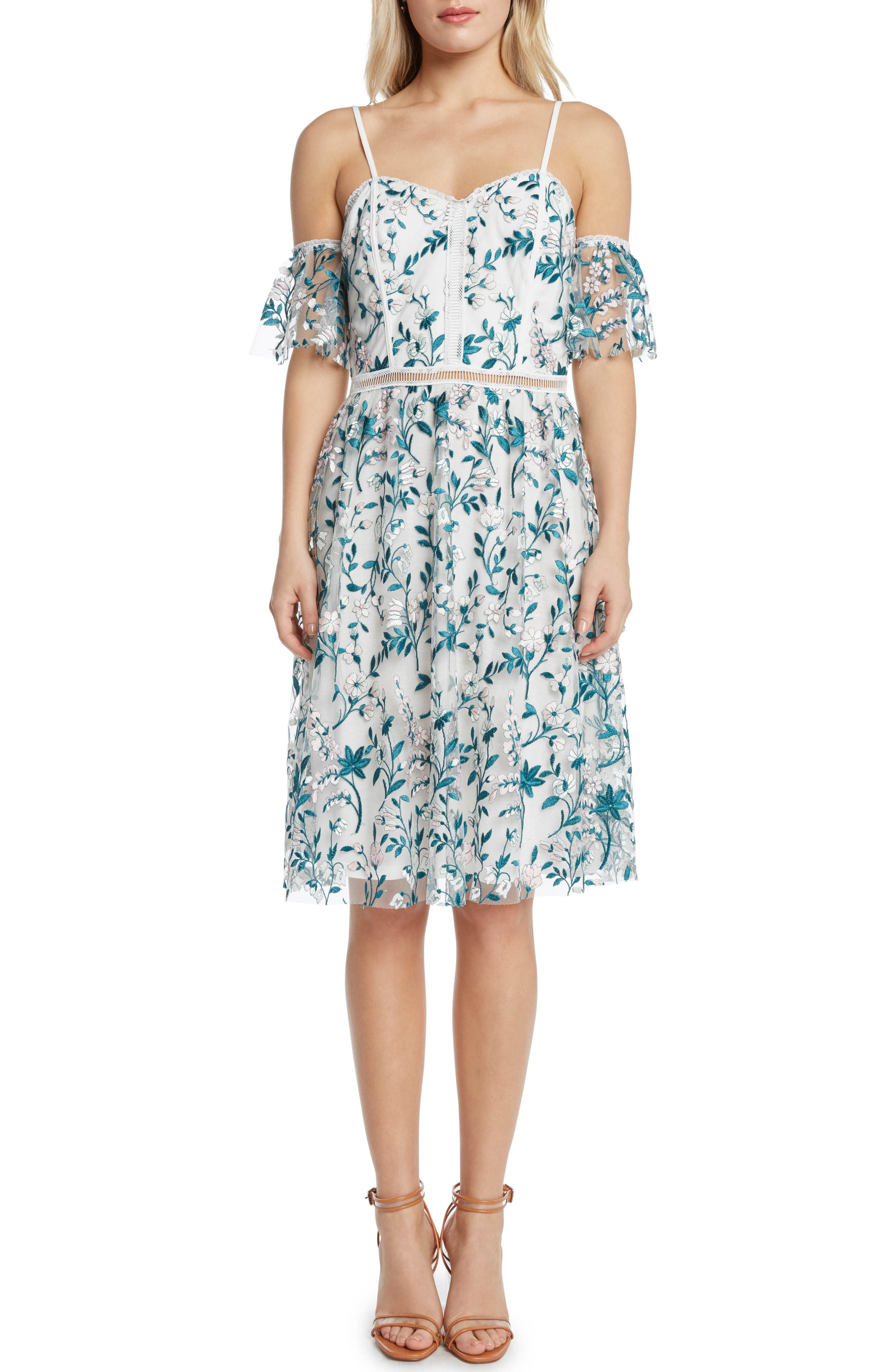 Embroidered Cold Shoulder Dress,                             Main thumbnail 1, color,
