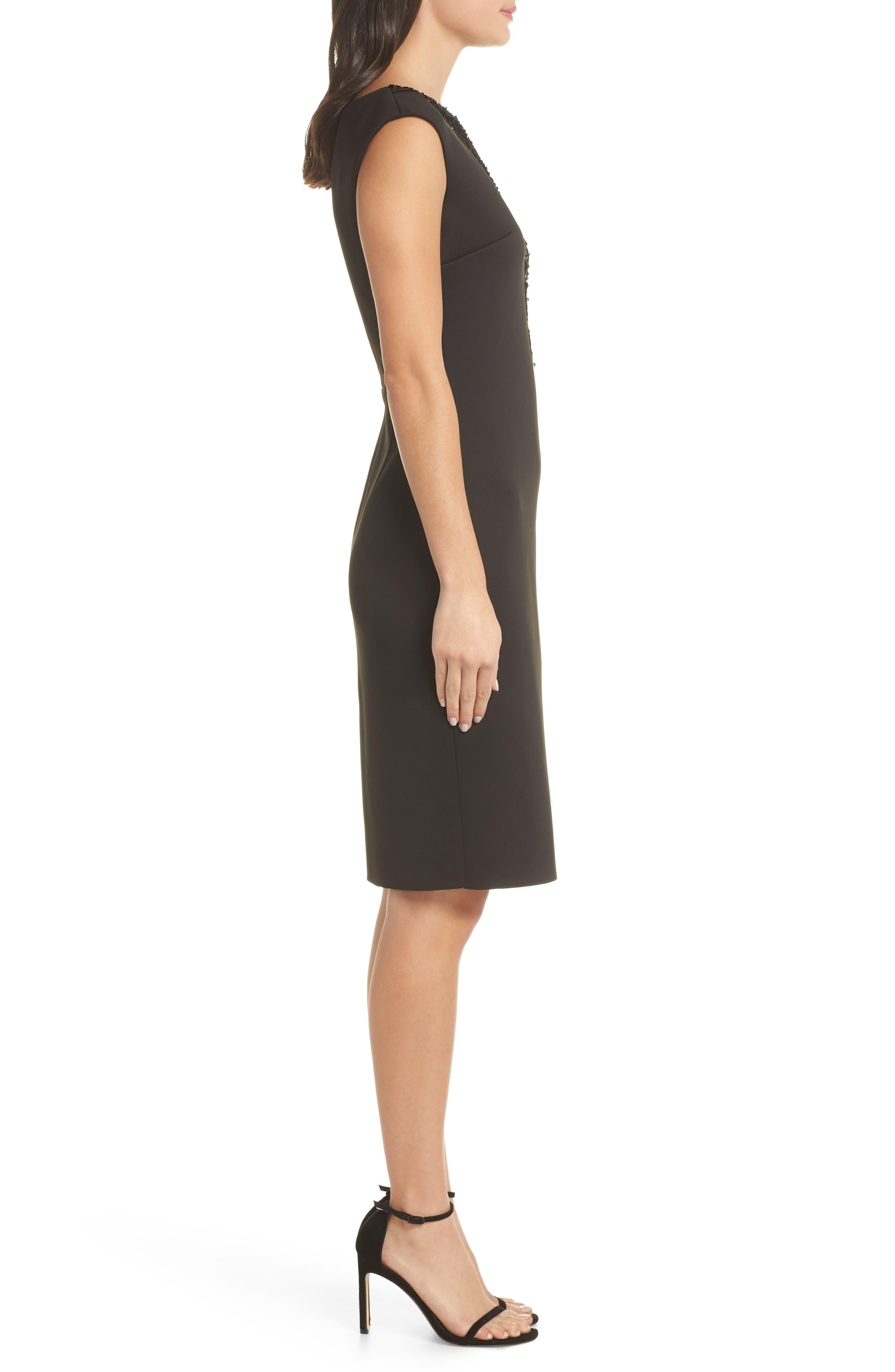 Sequin Swath Sheath Dress,                             Alternate thumbnail 3, color,                             BLACK
