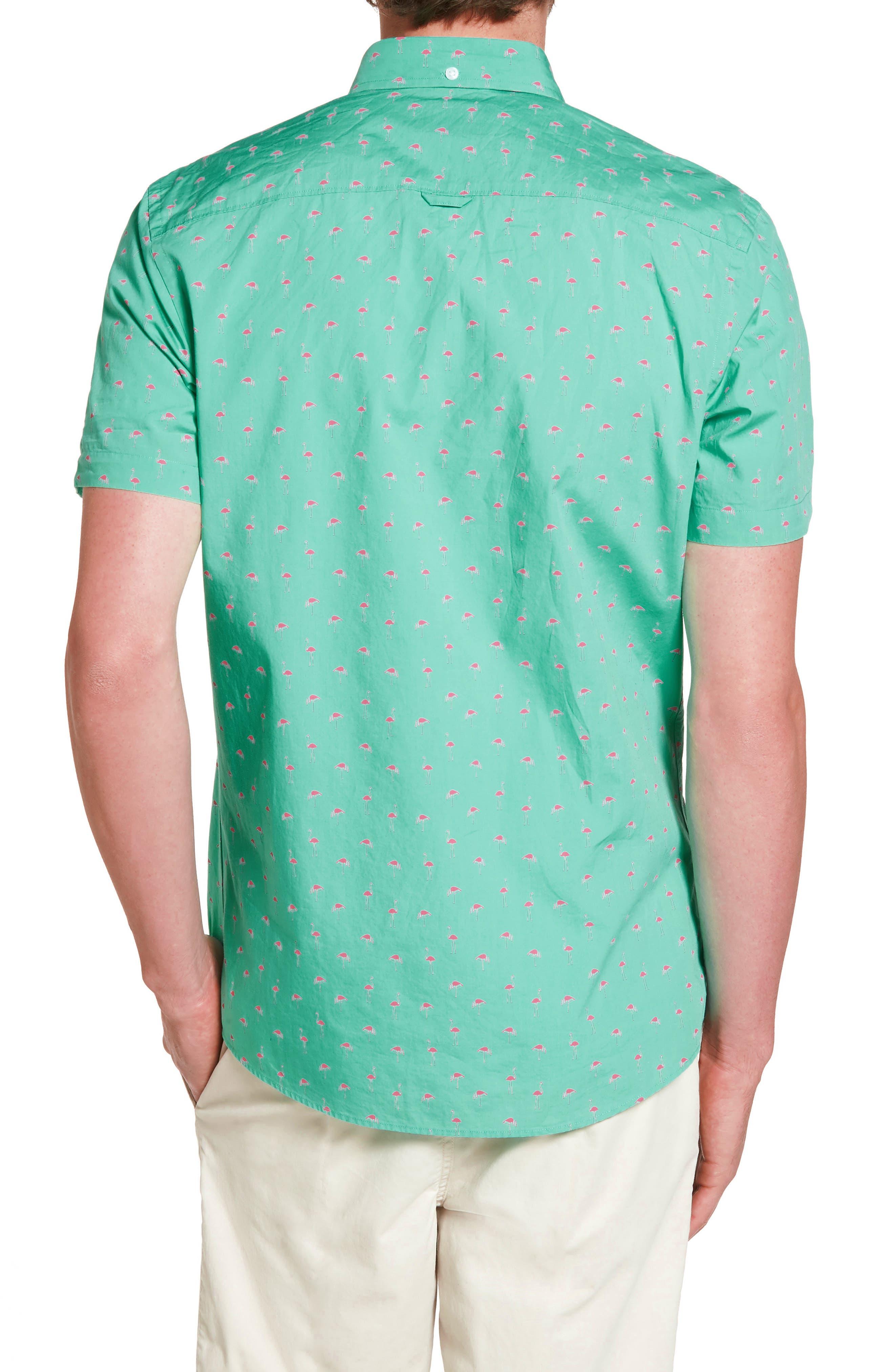 Slim Fit Flamingo Print Sport Shirt,                             Alternate thumbnail 2, color,                             310