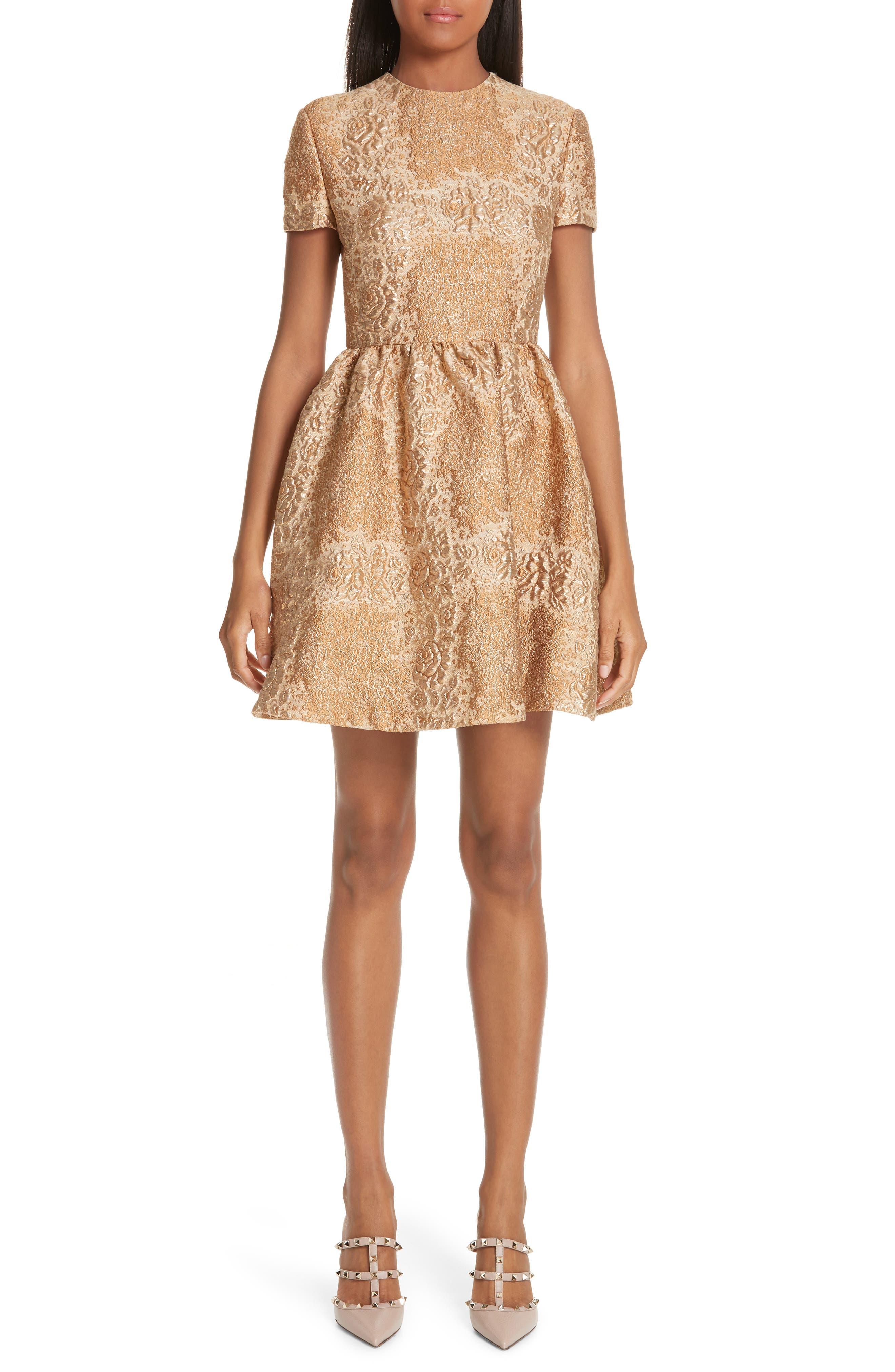 Valentino Floral Metallic Brocade Dress, Metallic