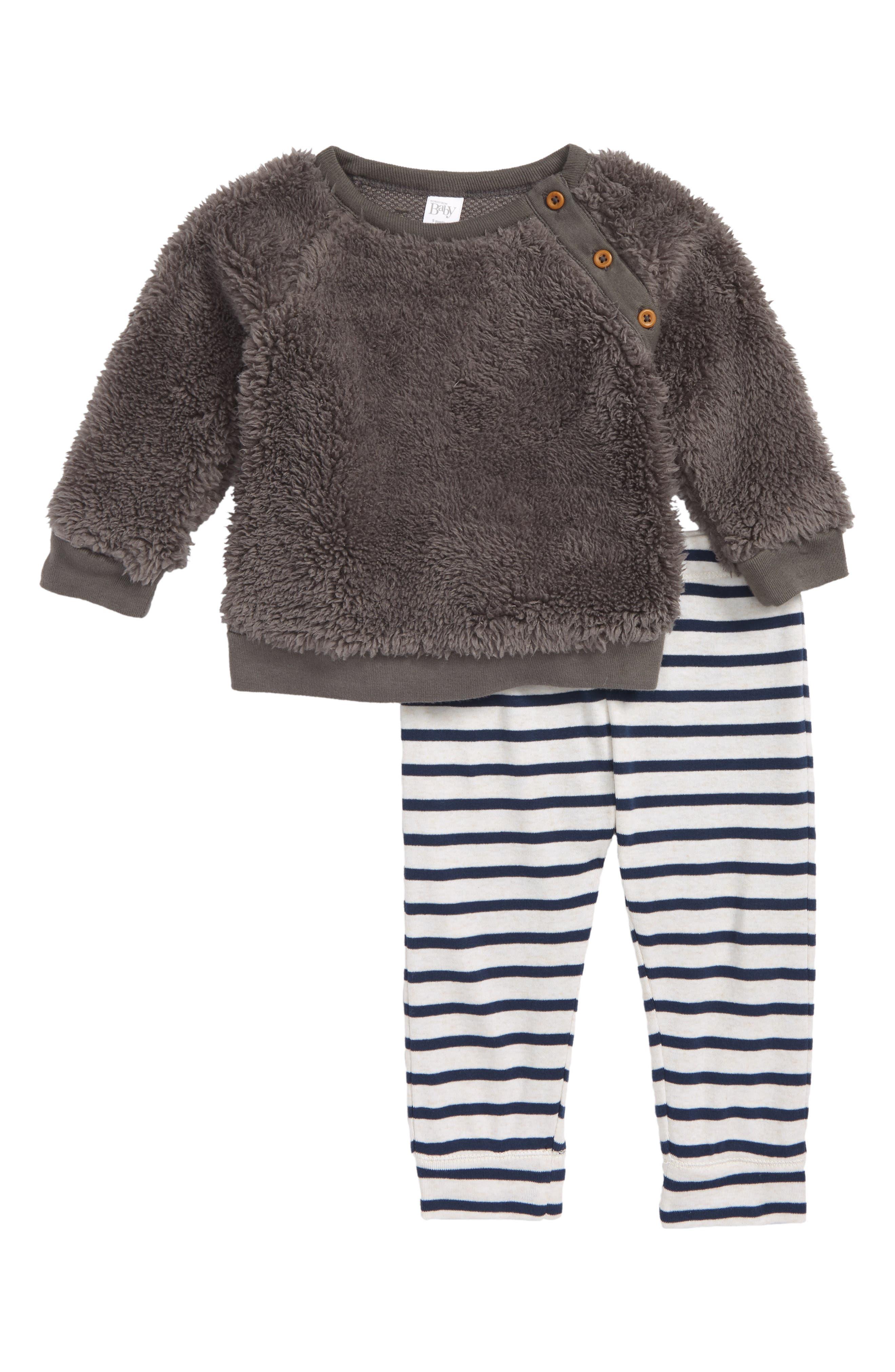 Faux Fur Top & Leggings,                         Main,                         color, GREY PEARL- NAVY