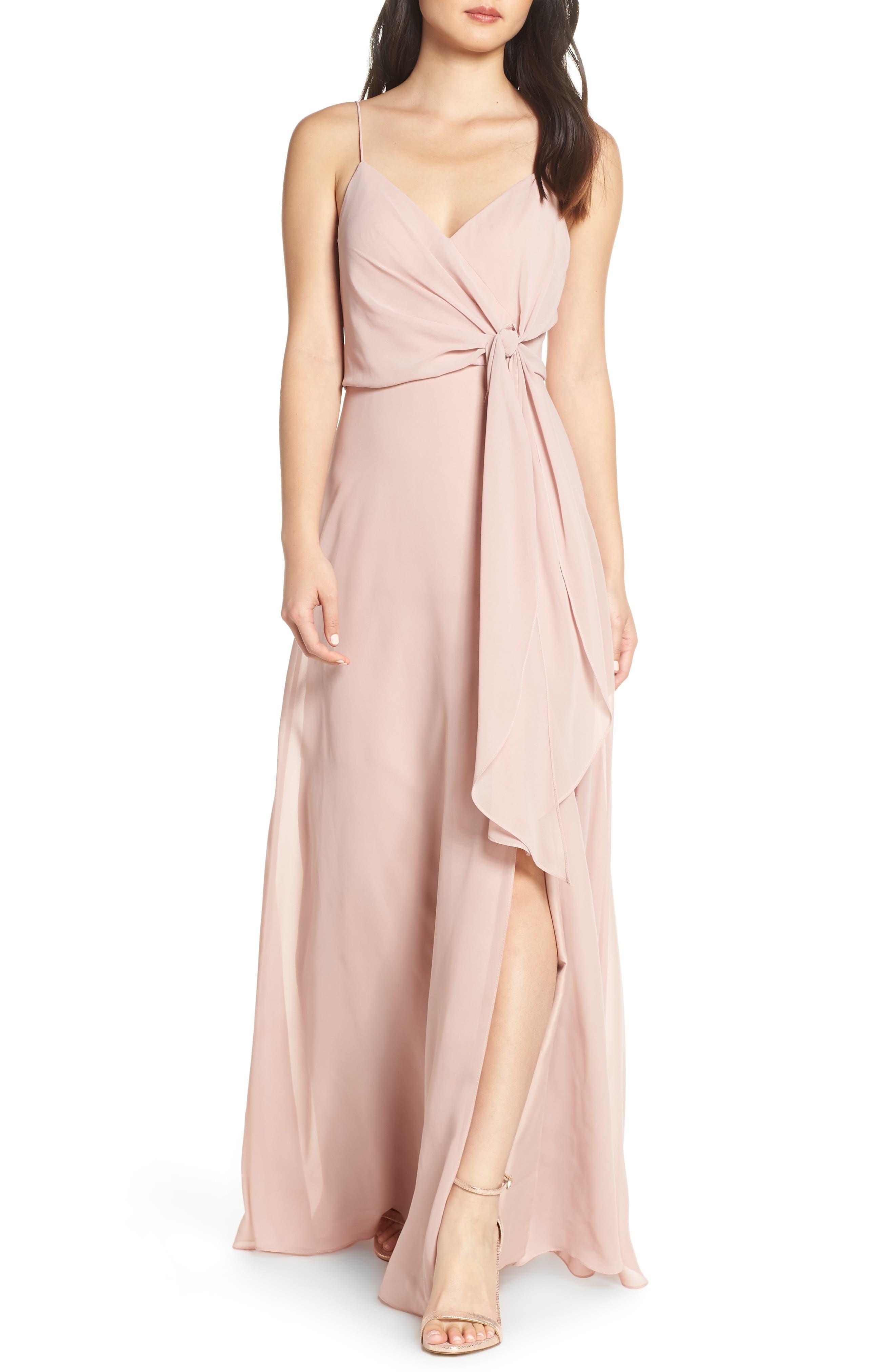 Jenny Yoo Amara Chiffon Overlay V-Neck Evening Dress, Red