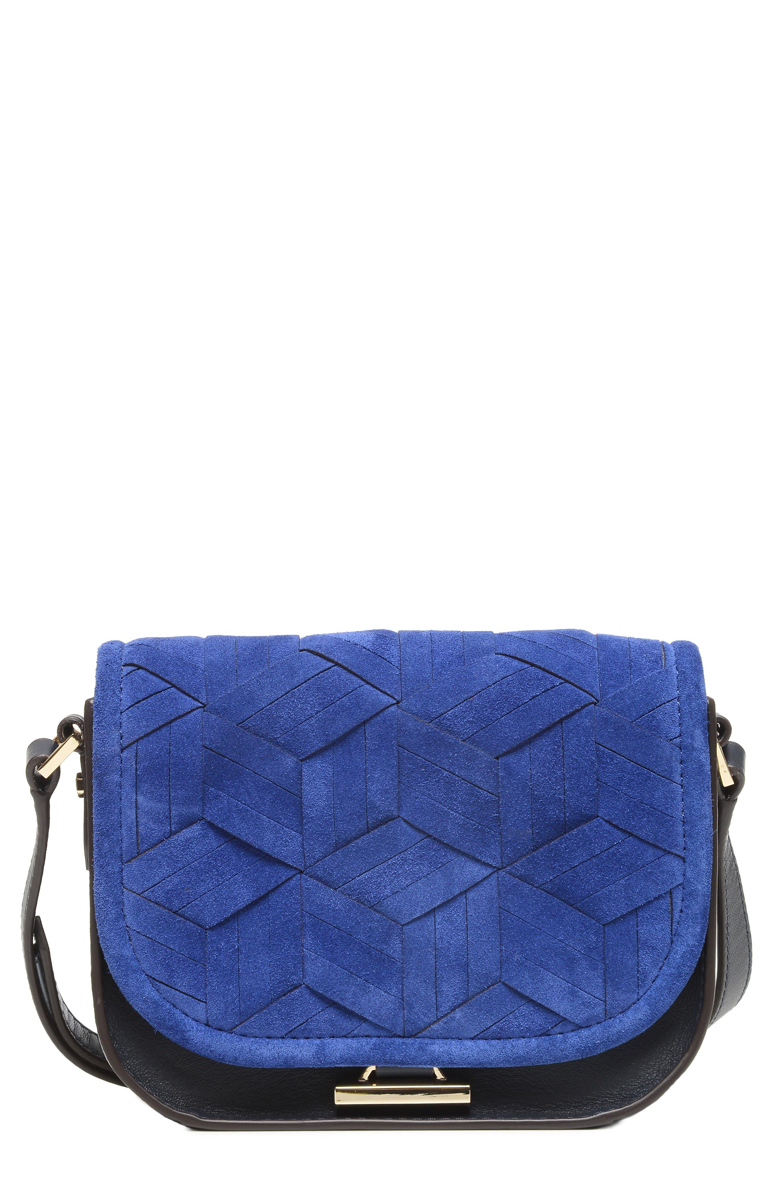 Mini Summit Suede & Leather Crossbody Bag,                         Main,                         color, 400