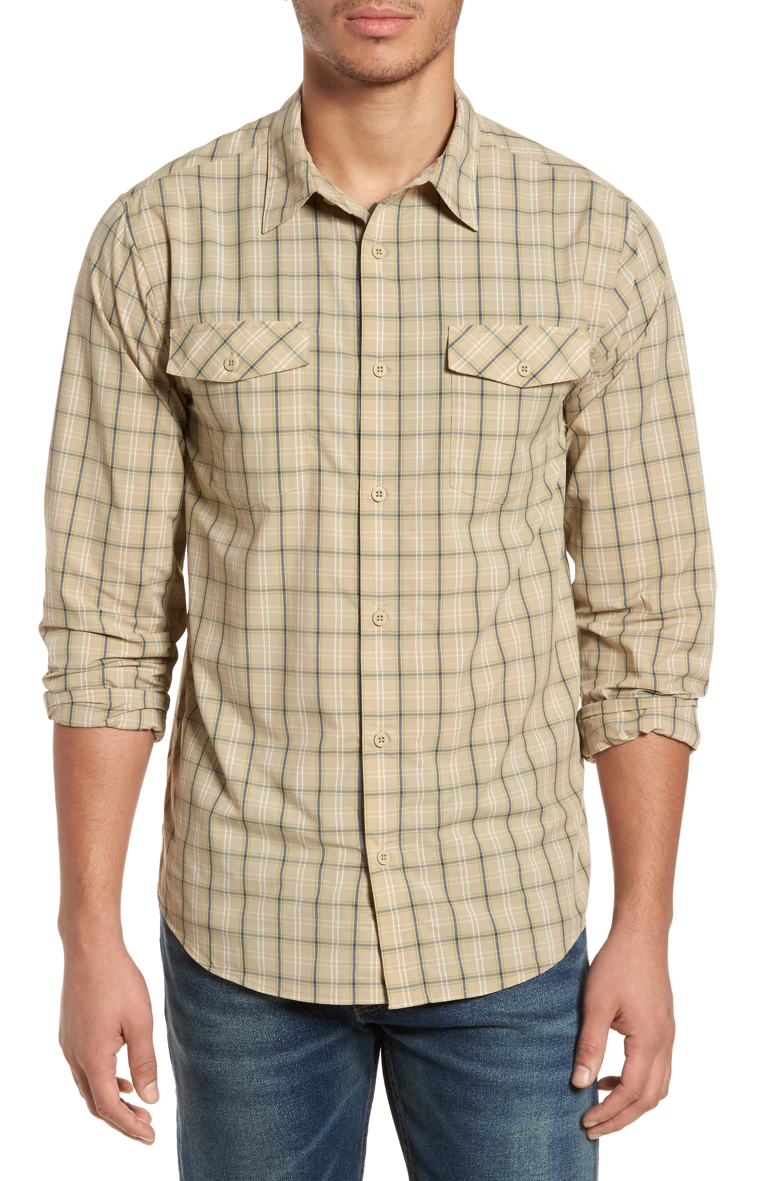 M's High Moss Plaid Sport Shirt,                         Main,                         color, EL CAP KHAKI