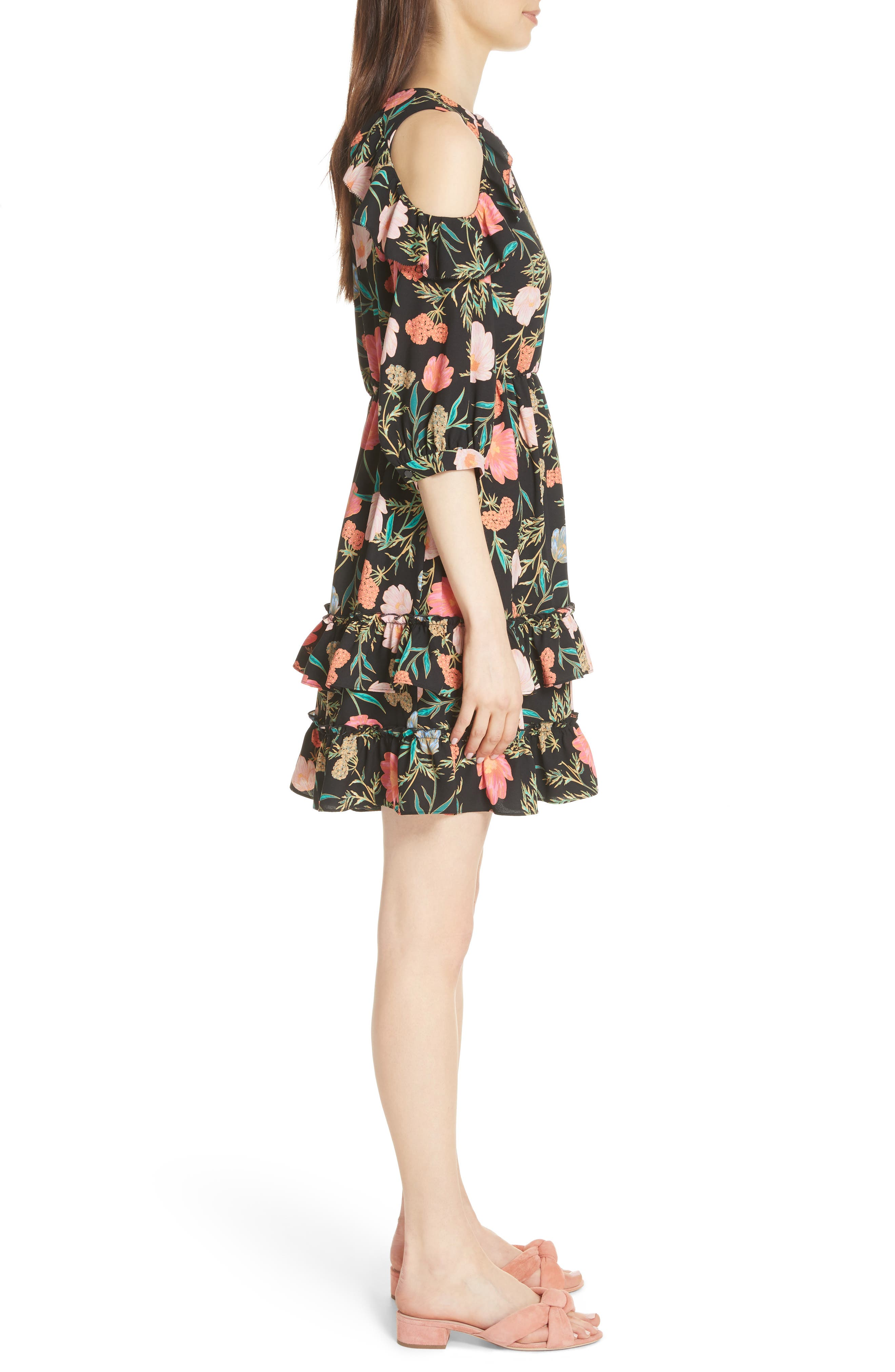 blossom cold shoulder dress,                             Alternate thumbnail 3, color,                             001