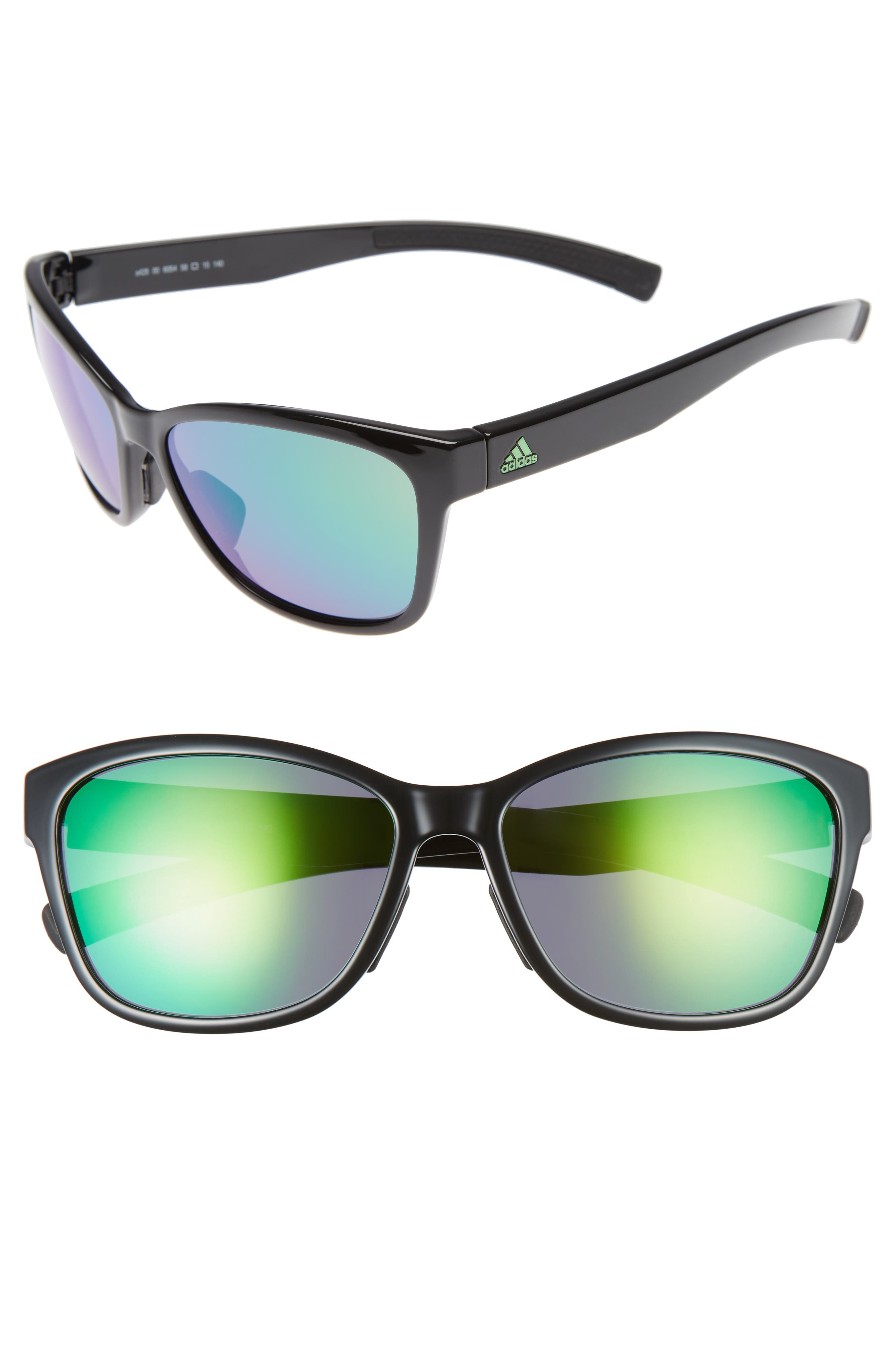 Excalate 58mm Mirrored Sunglasses,                         Main,                         color, SHINY BLACK/ GREEN MIRROR