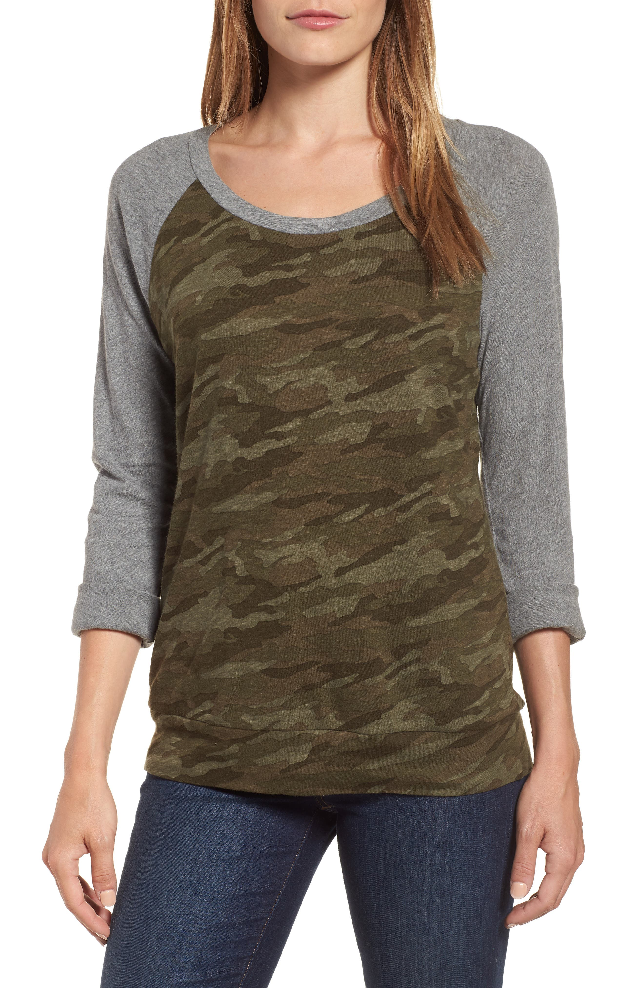 Lightweight Colorblock Cotton Tee,                             Main thumbnail 1, color,                             OLIVE CAMO - GREY