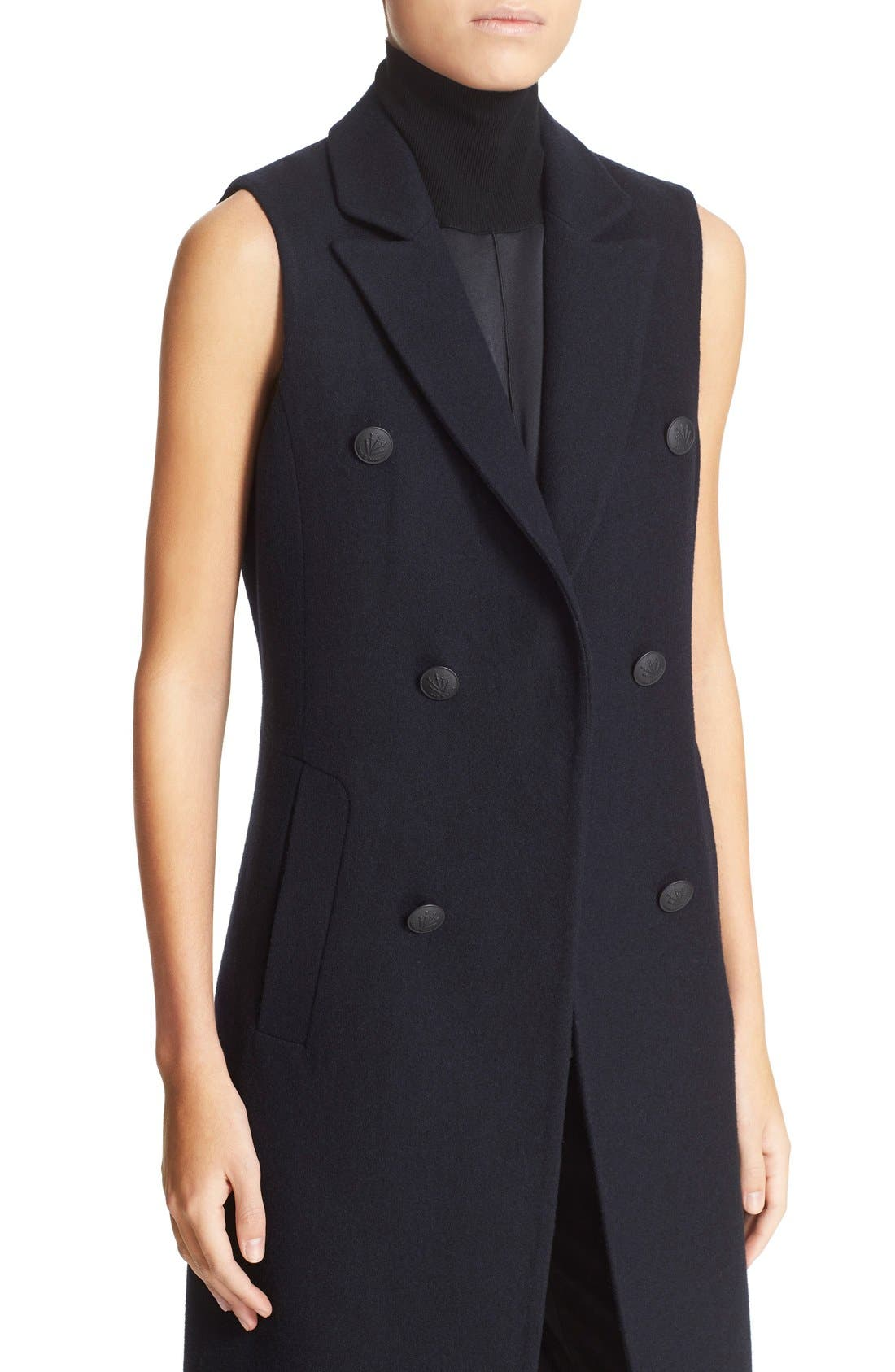 'Faye' Longline Double Breasted Wool Blend Vest,                             Alternate thumbnail 3, color,                             415