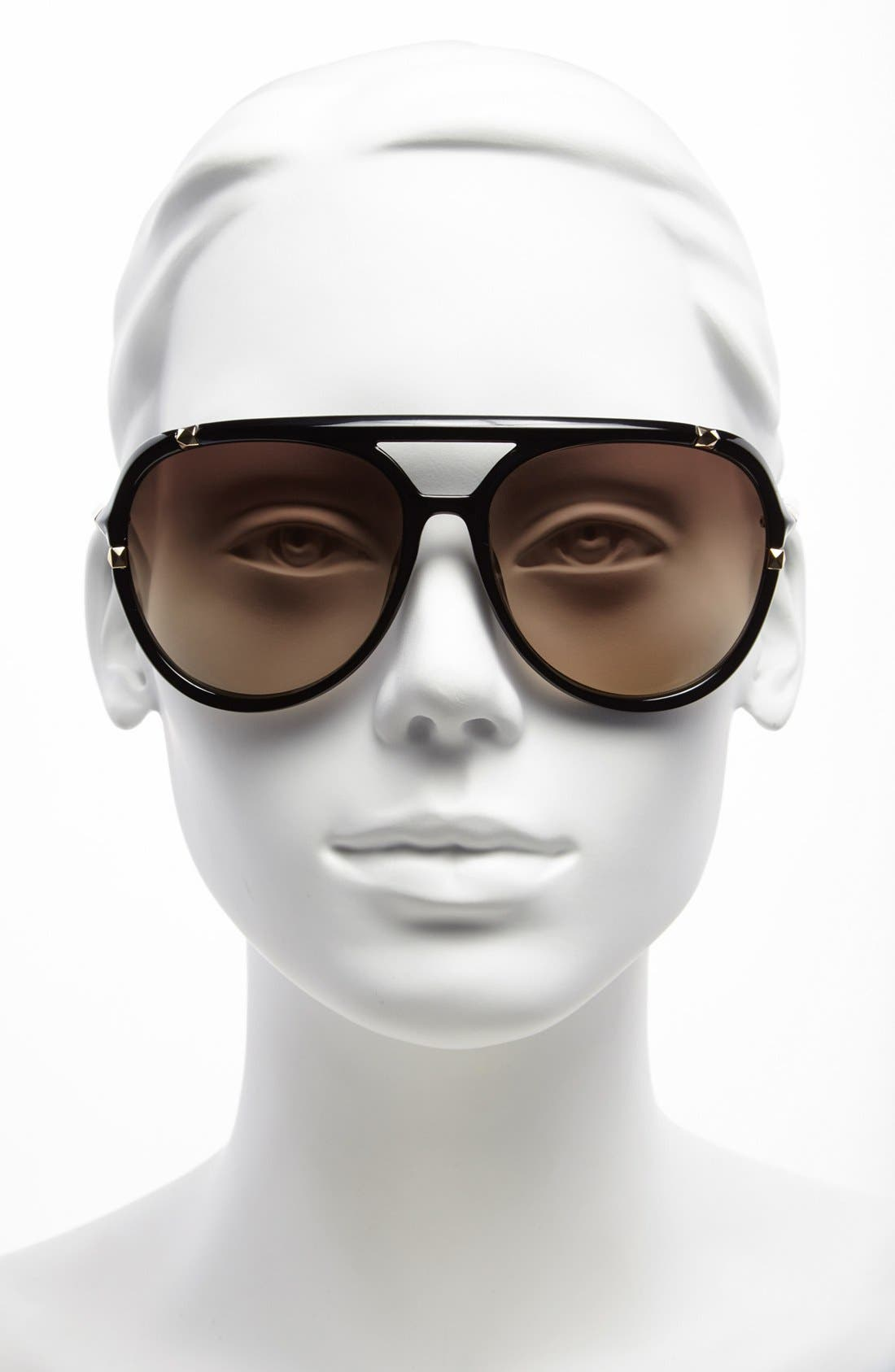'Jemma' 60mm Aviator Sunglasses,                             Alternate thumbnail 3, color,                             001