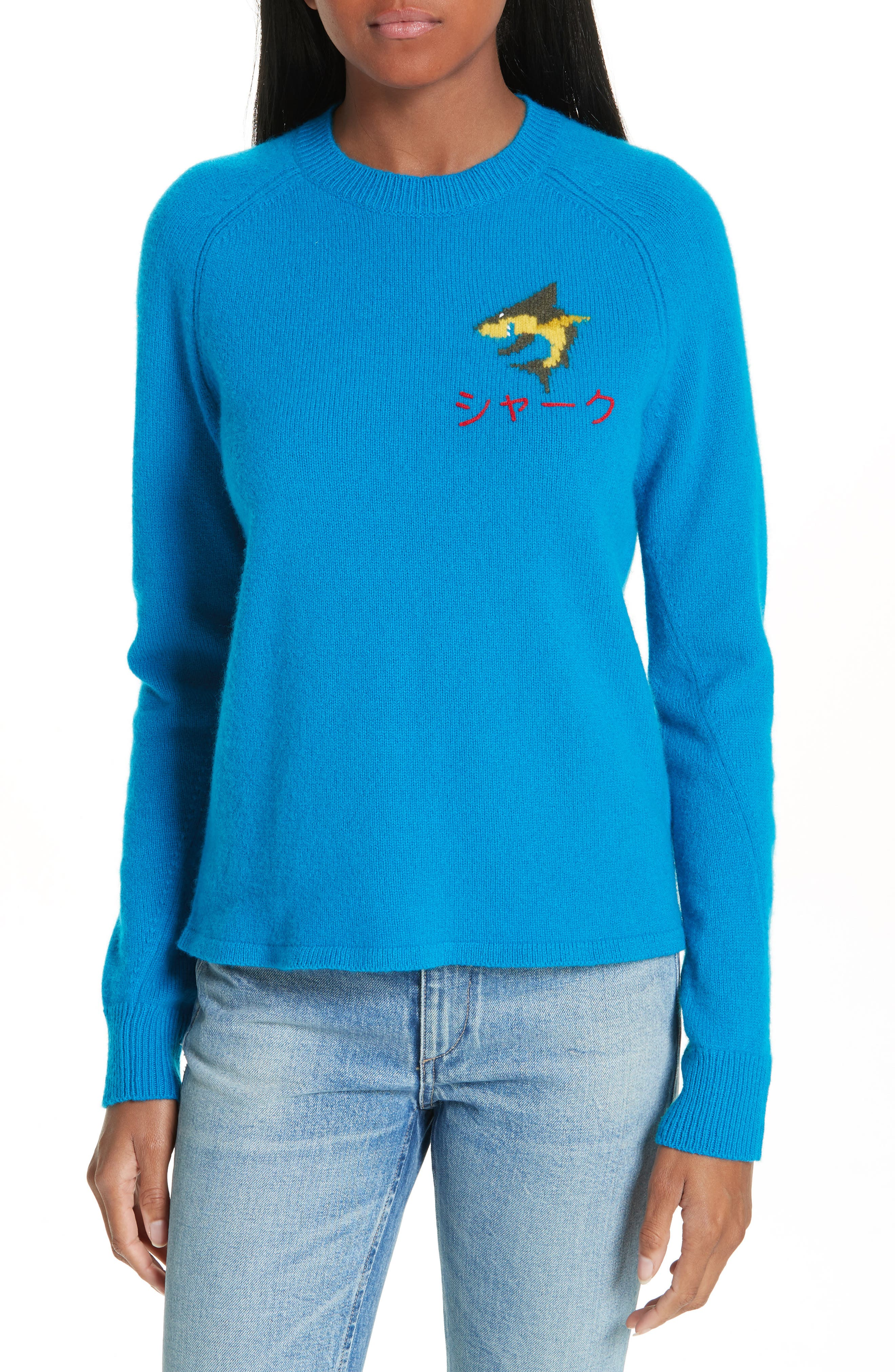 Storm Wool Intarsia Pullover Sweater in Blue