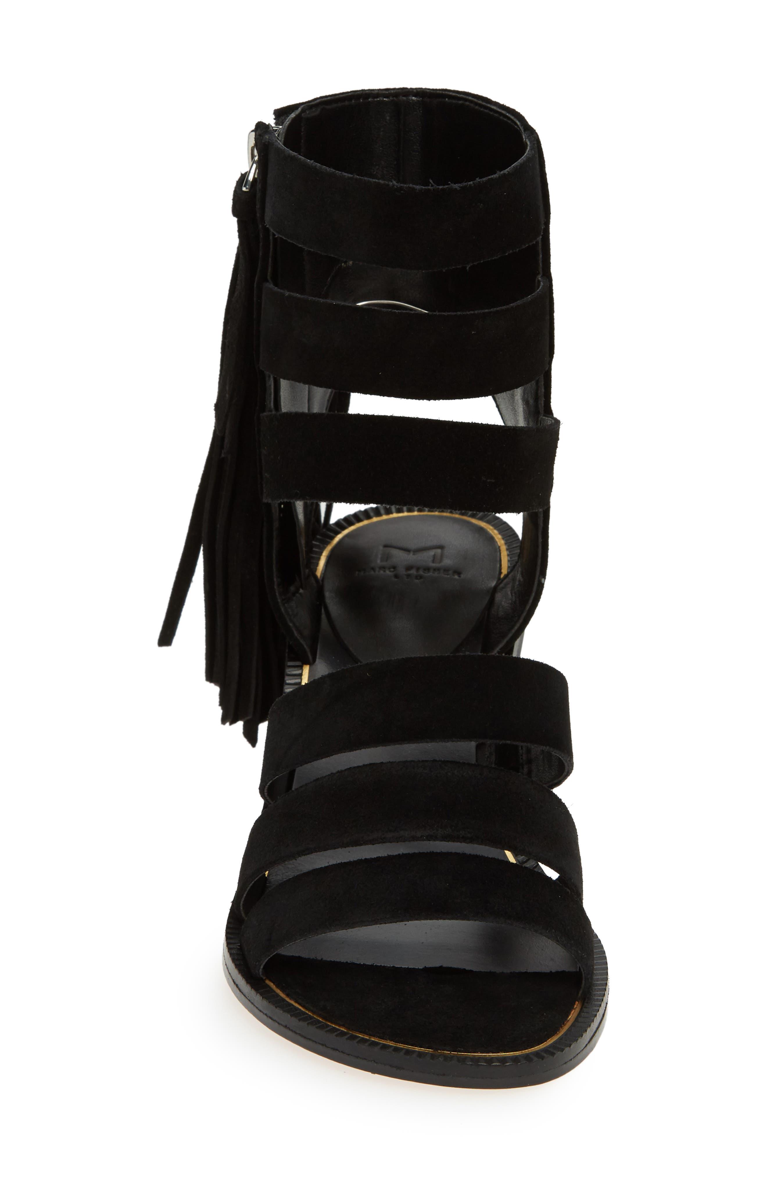 Collin Fringe Sandal,                             Alternate thumbnail 4, color,                             BLACK SUEDE