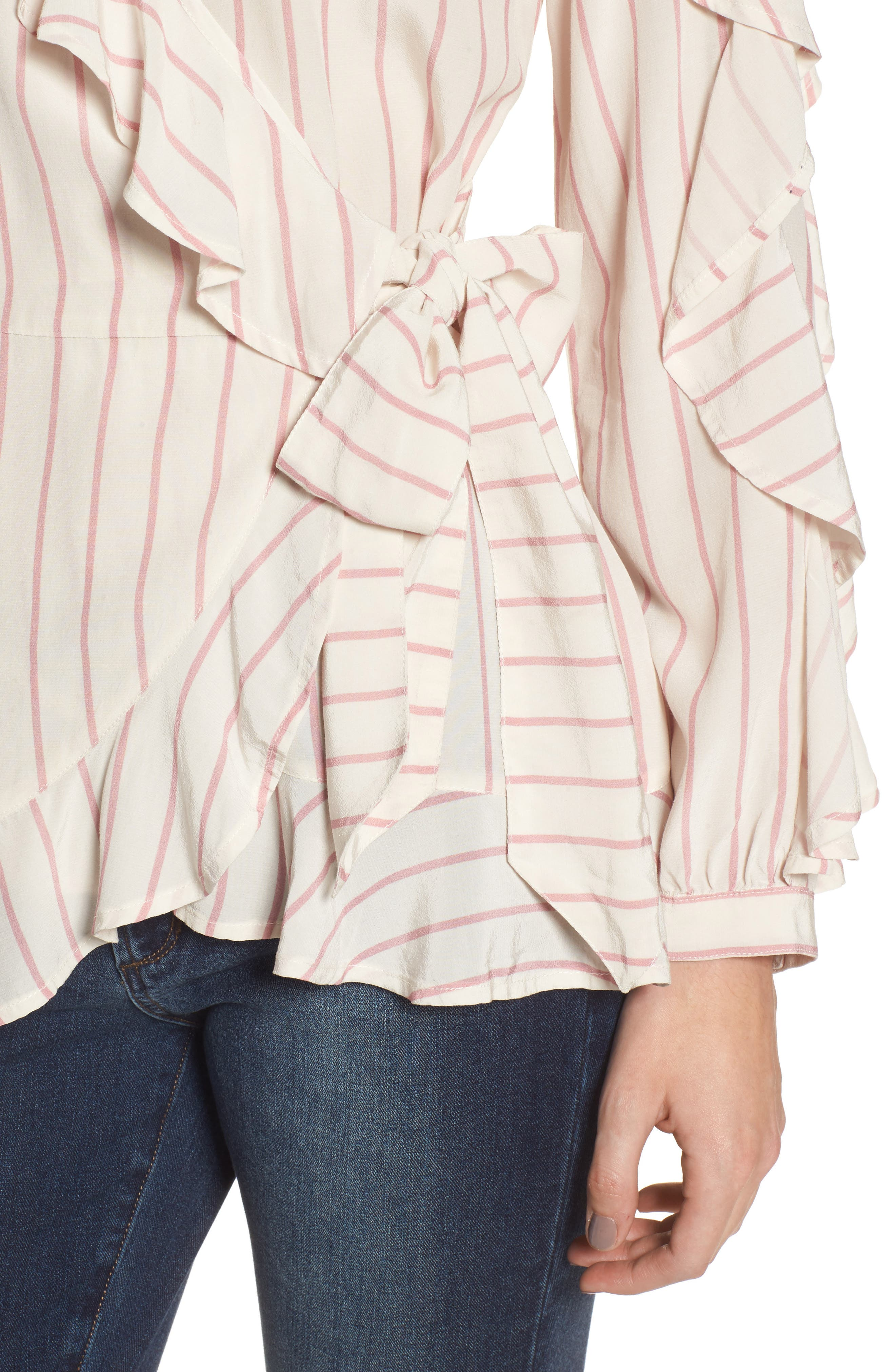 Ruffle Wrap Top,                             Alternate thumbnail 4, color,                             100