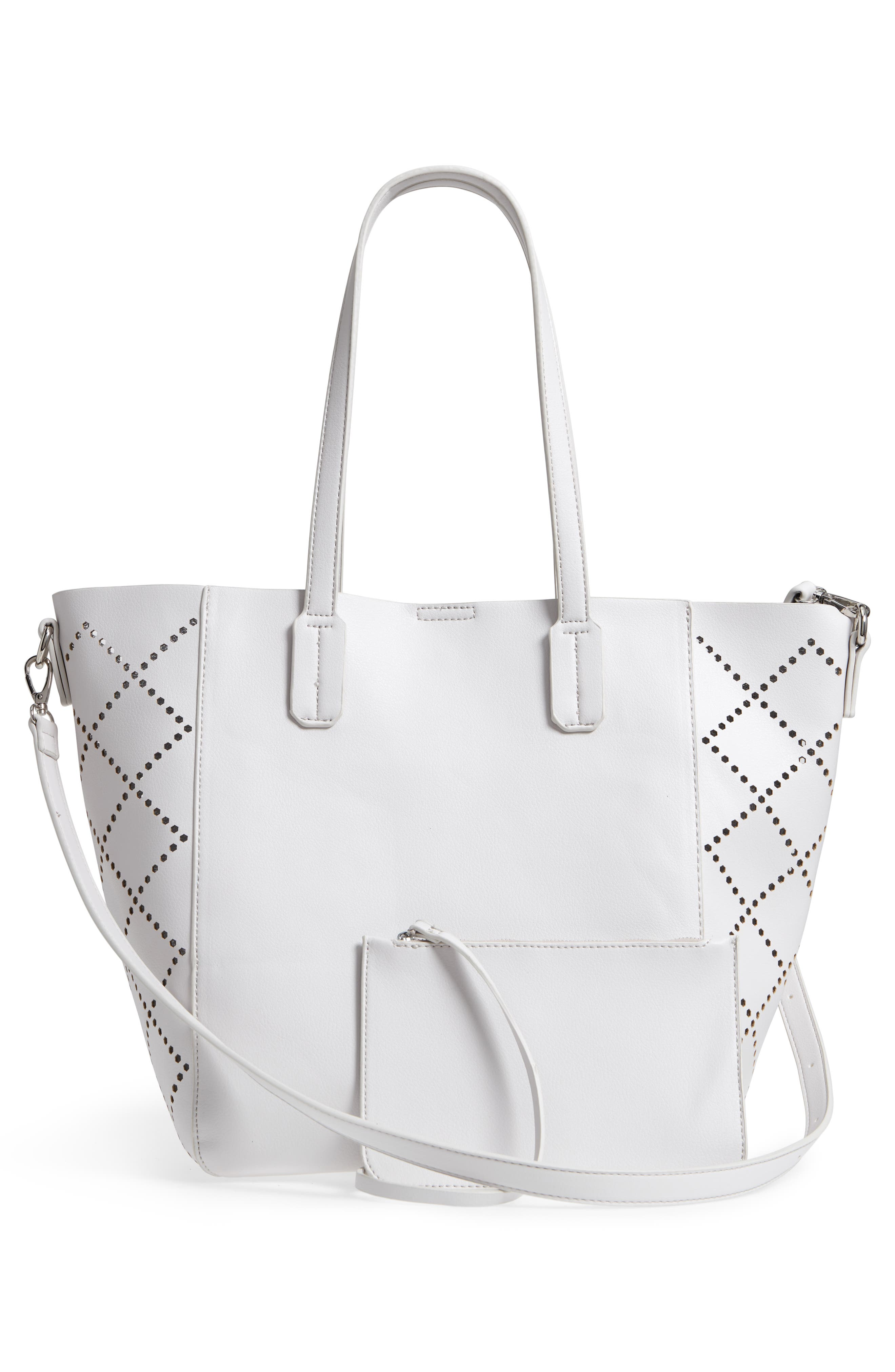 Perforated Faux Leather Tote,                             Alternate thumbnail 5, color,