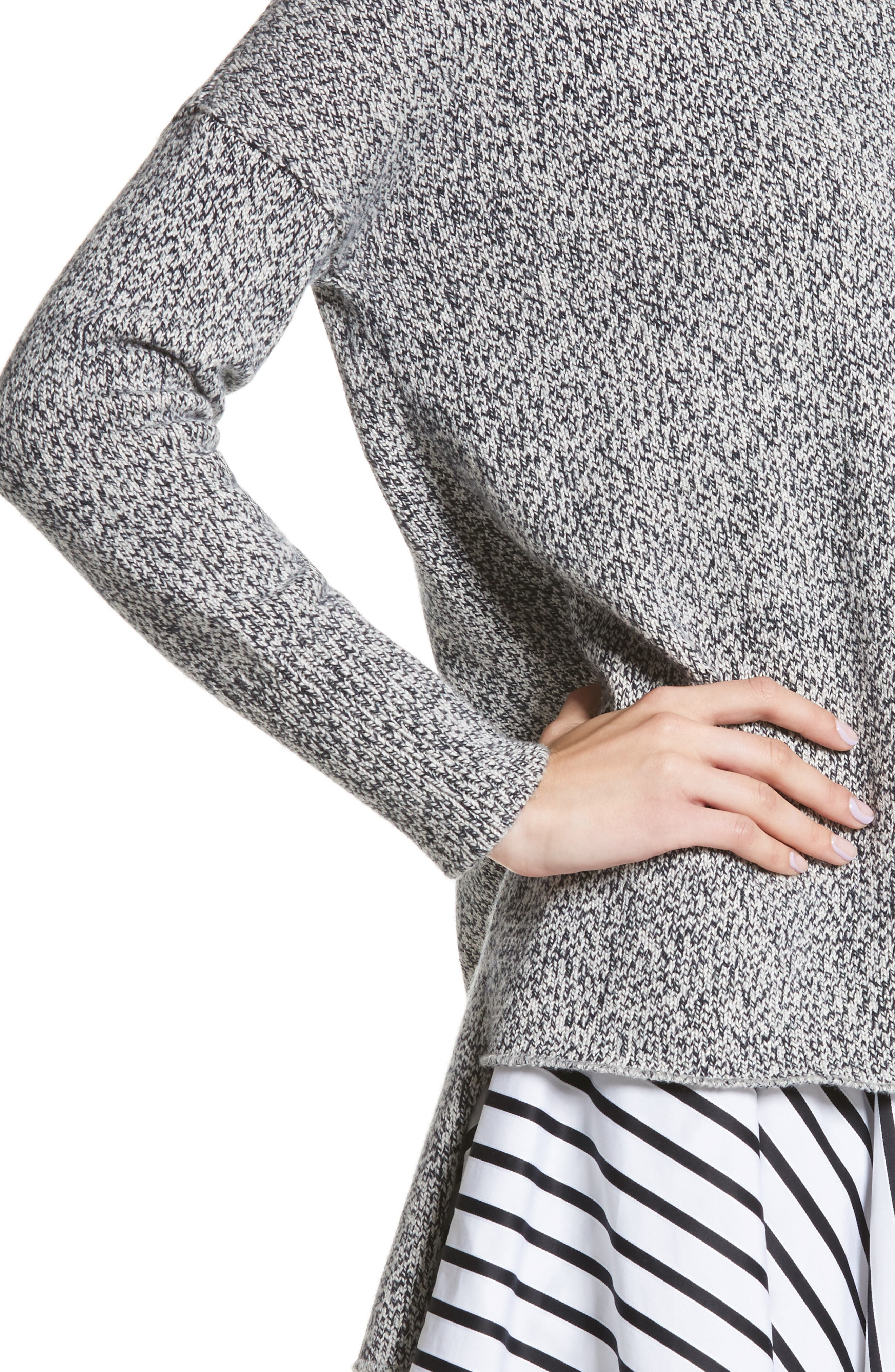 Marled Cotton, Cashmere & Silk Sweater,                             Alternate thumbnail 4, color,                             020