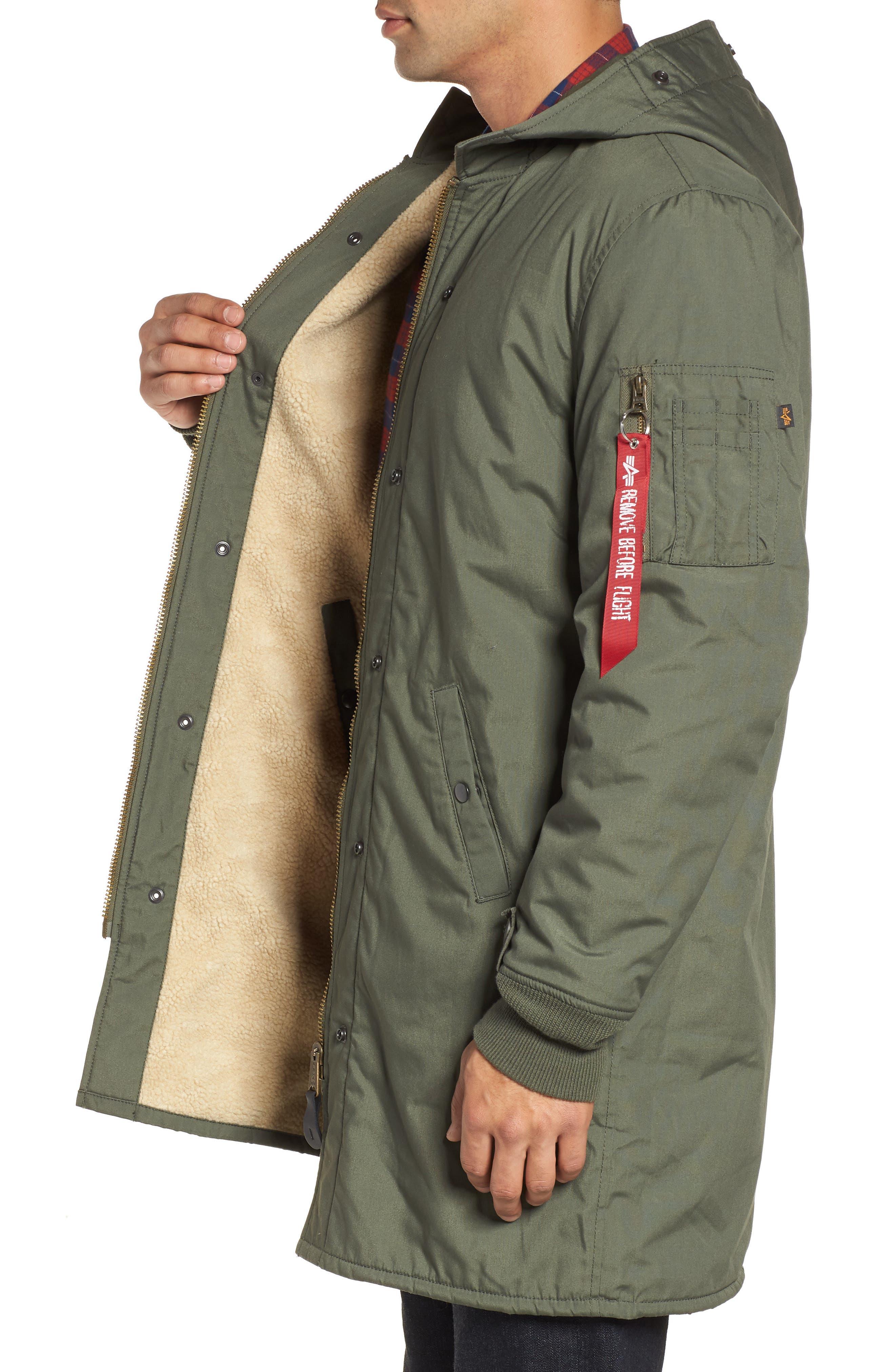 M-47 Faux Shearling Reversible Jacket,                             Alternate thumbnail 3, color,                             M-65 OLIVE