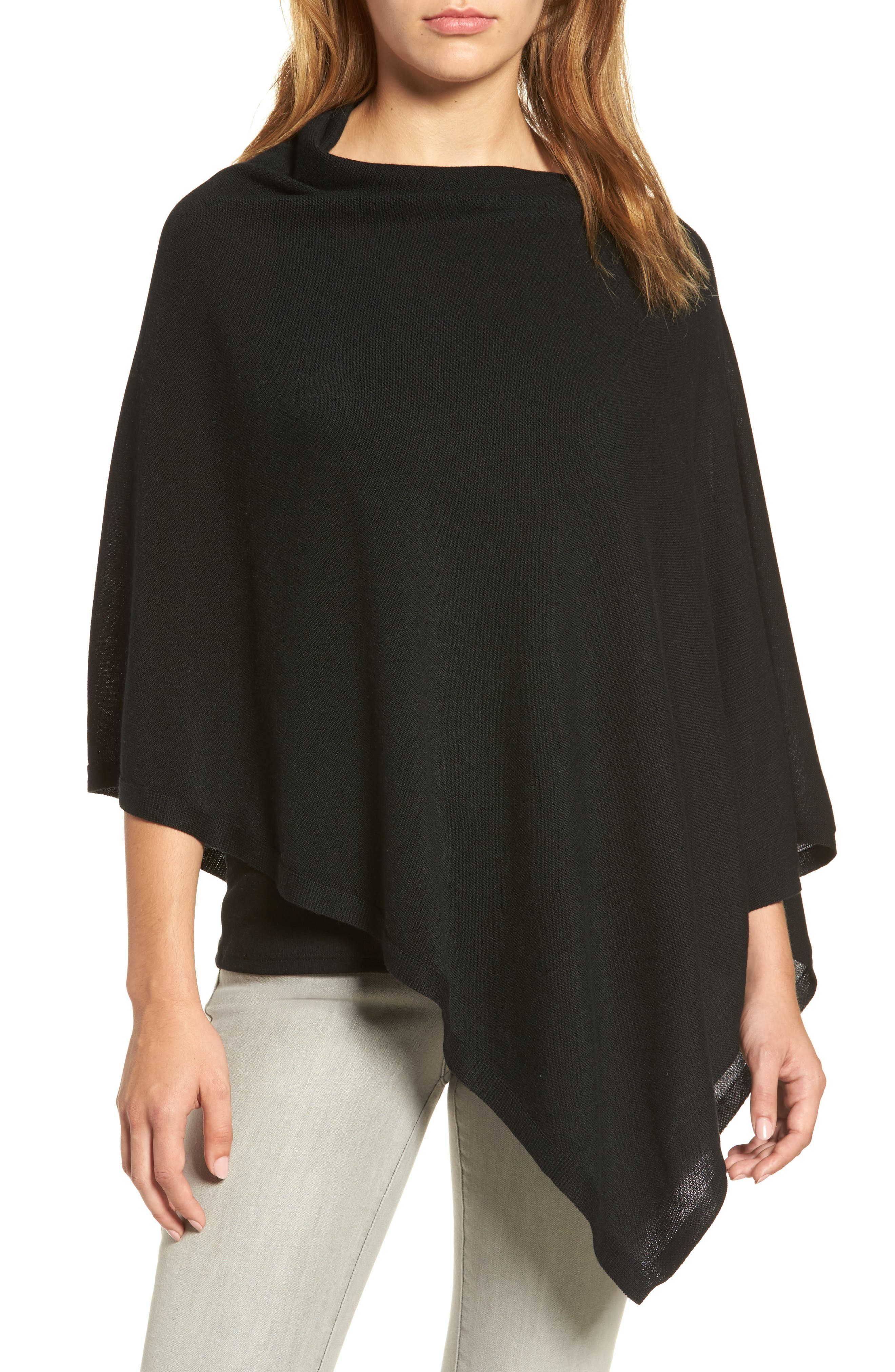 Tencel<sup>®</sup> & Wool Poncho,                         Main,                         color, 001
