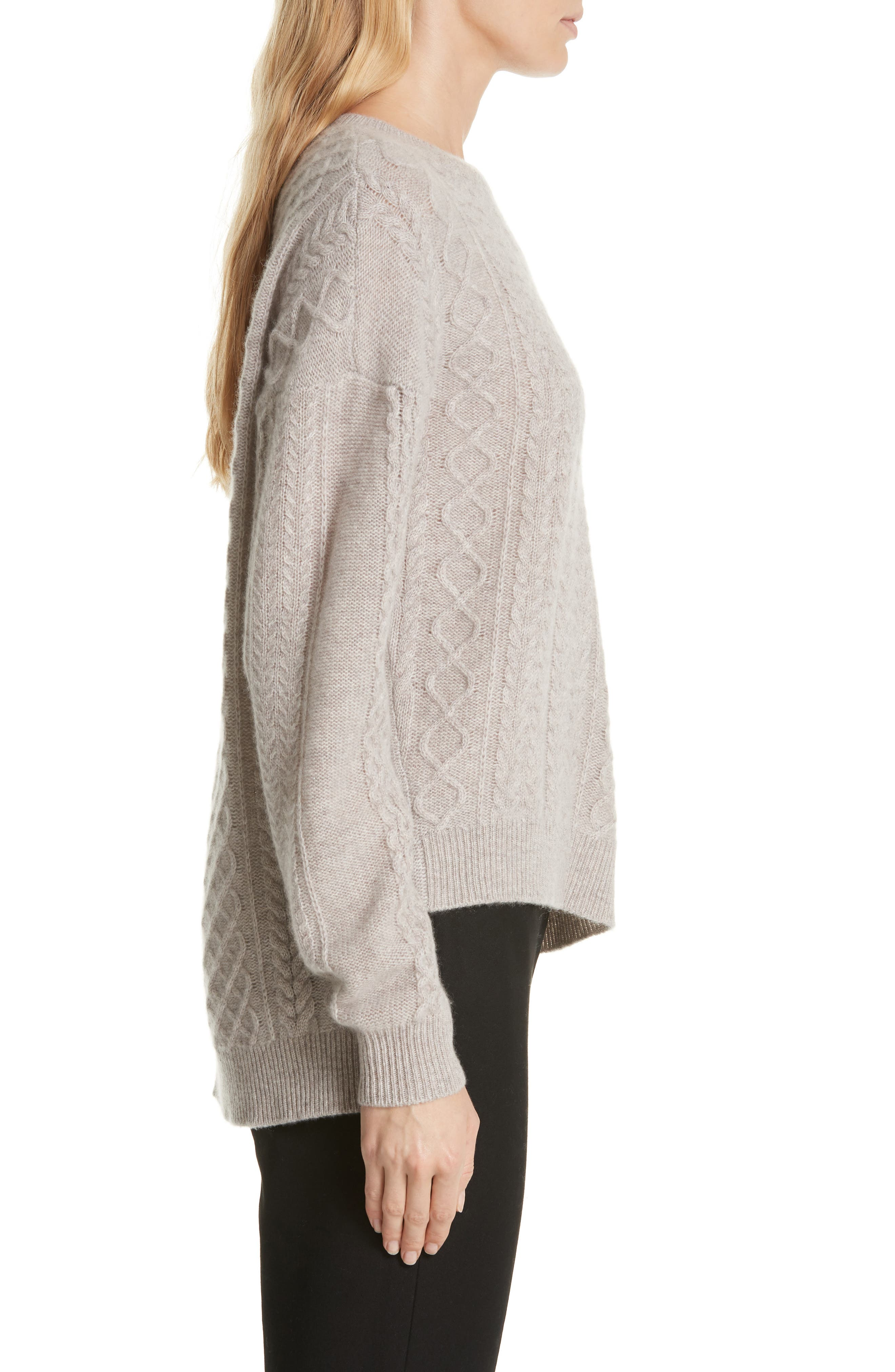 Cable Mix Asymmetrical Cashmere Sweater,                             Alternate thumbnail 3, color,                             BEIGE STRING HEATHER