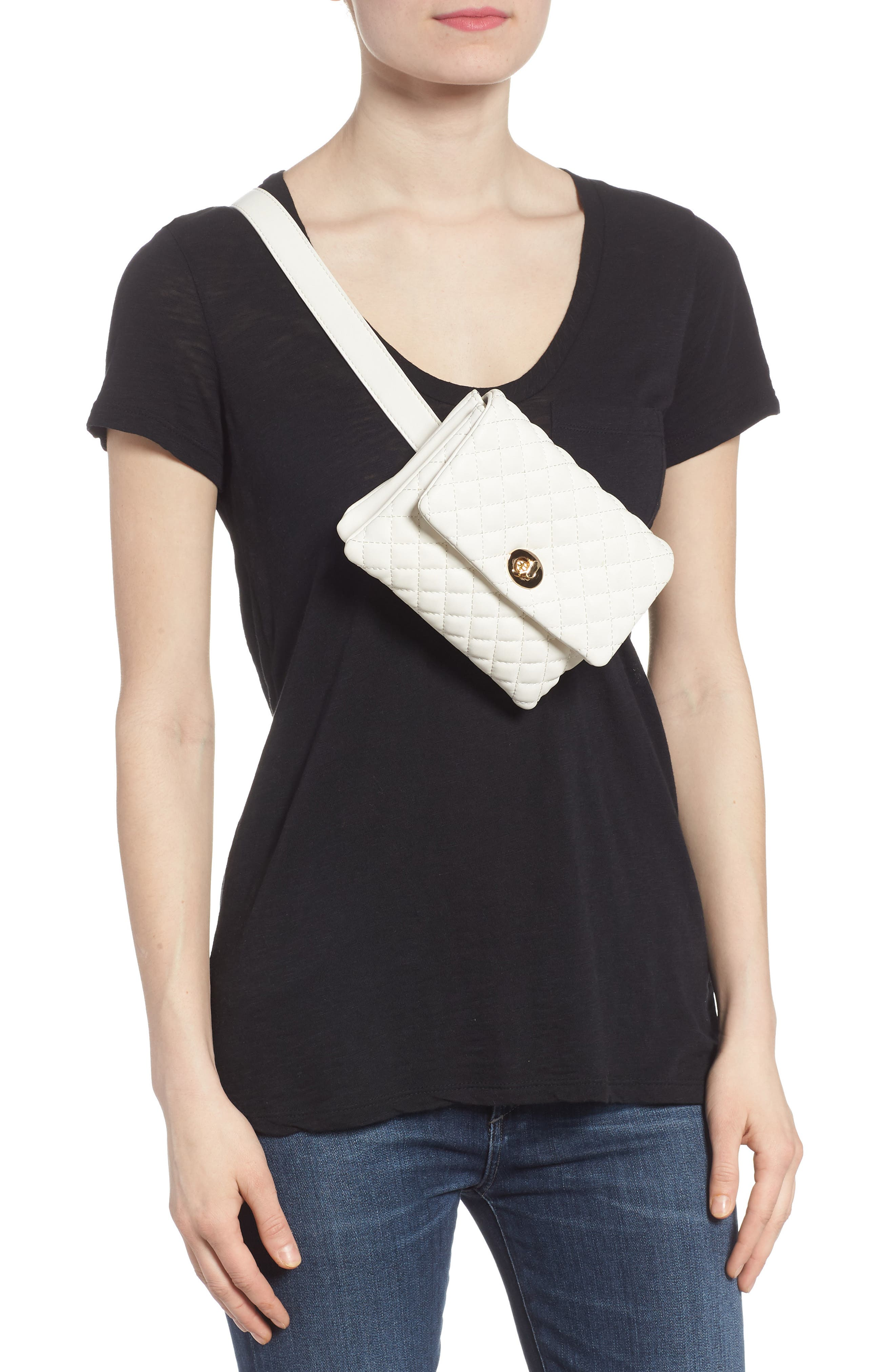 Mali + Lili Quilted Vegan Leather Convertible Belt Bag,                             Alternate thumbnail 3, color,                             WHITE