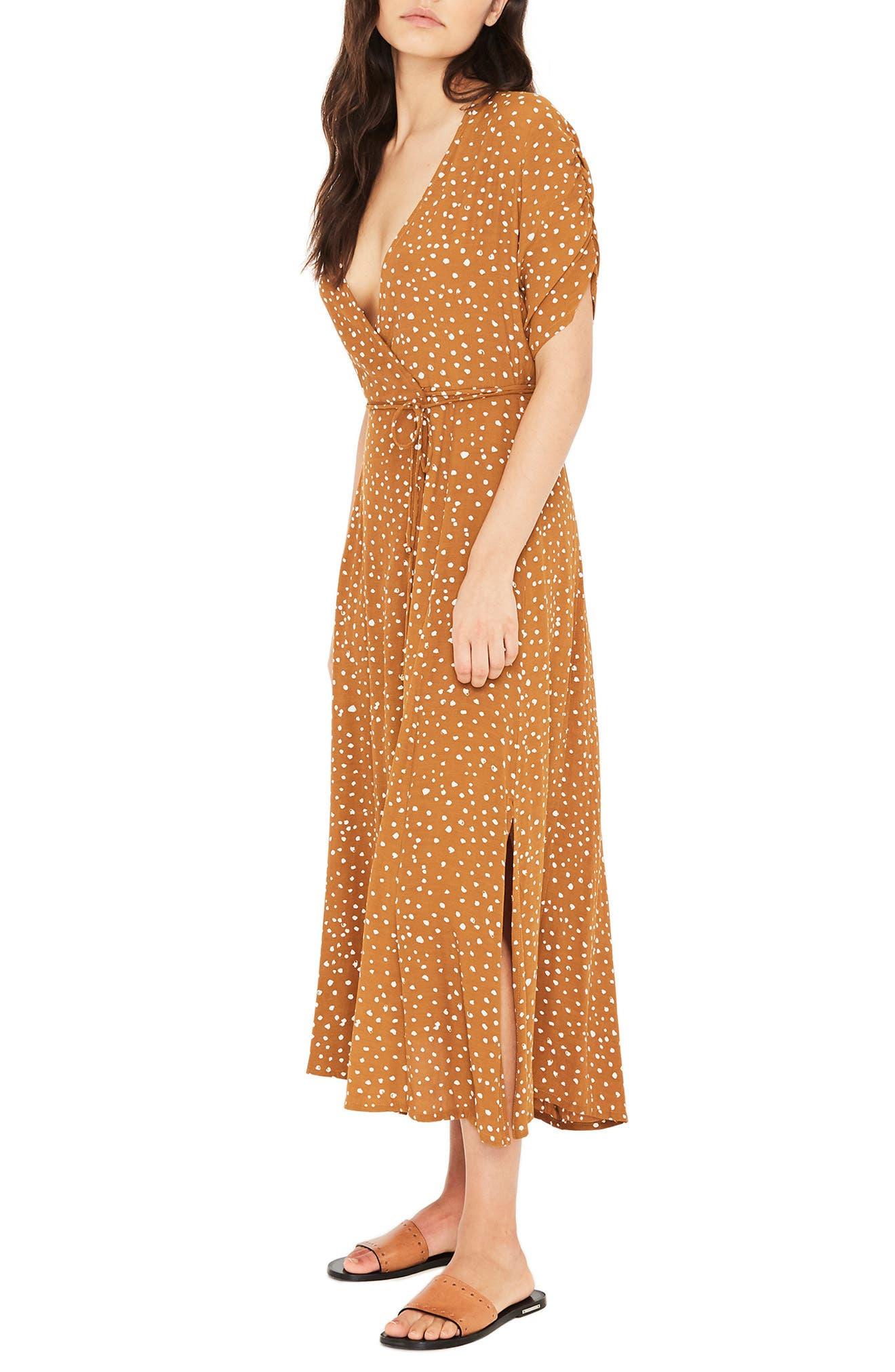 Chiara Dot Print Wrap Dress,                             Alternate thumbnail 3, color,                             700