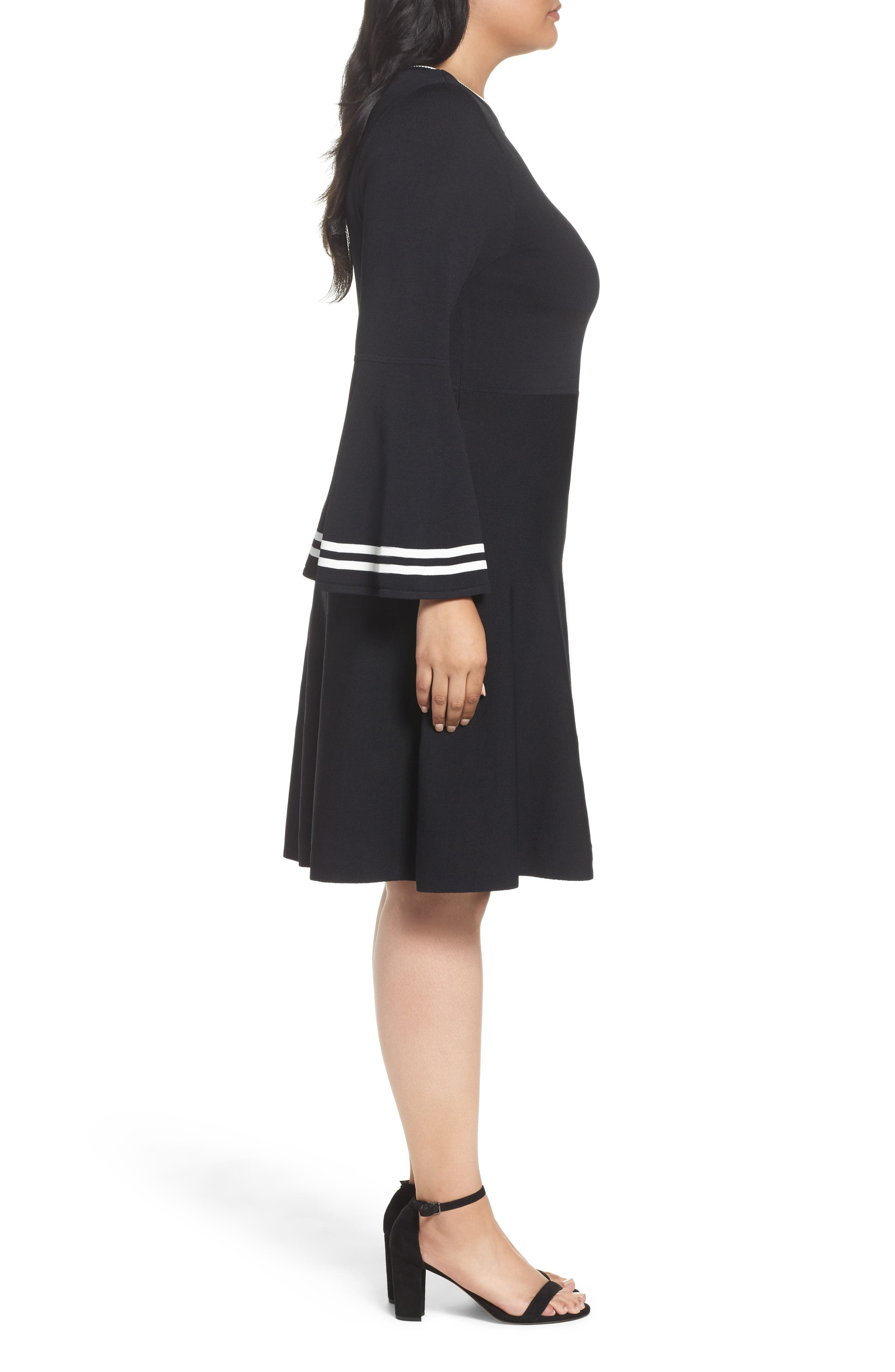 Bell Sleeve Fit & Flare Dress,                             Alternate thumbnail 3, color,                             006