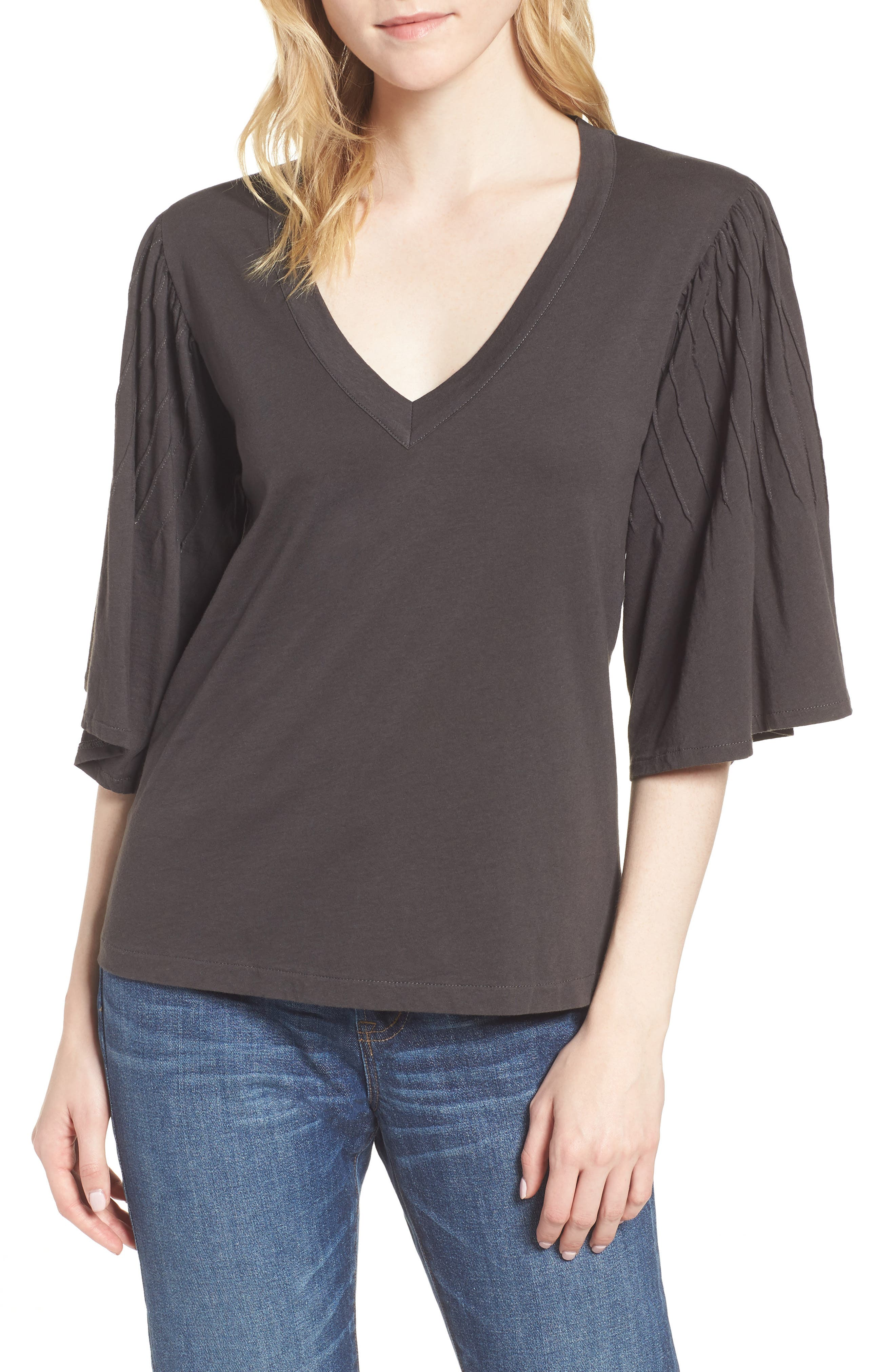 Pintuck Sleeve Cotton Blouse,                         Main,                         color, 010