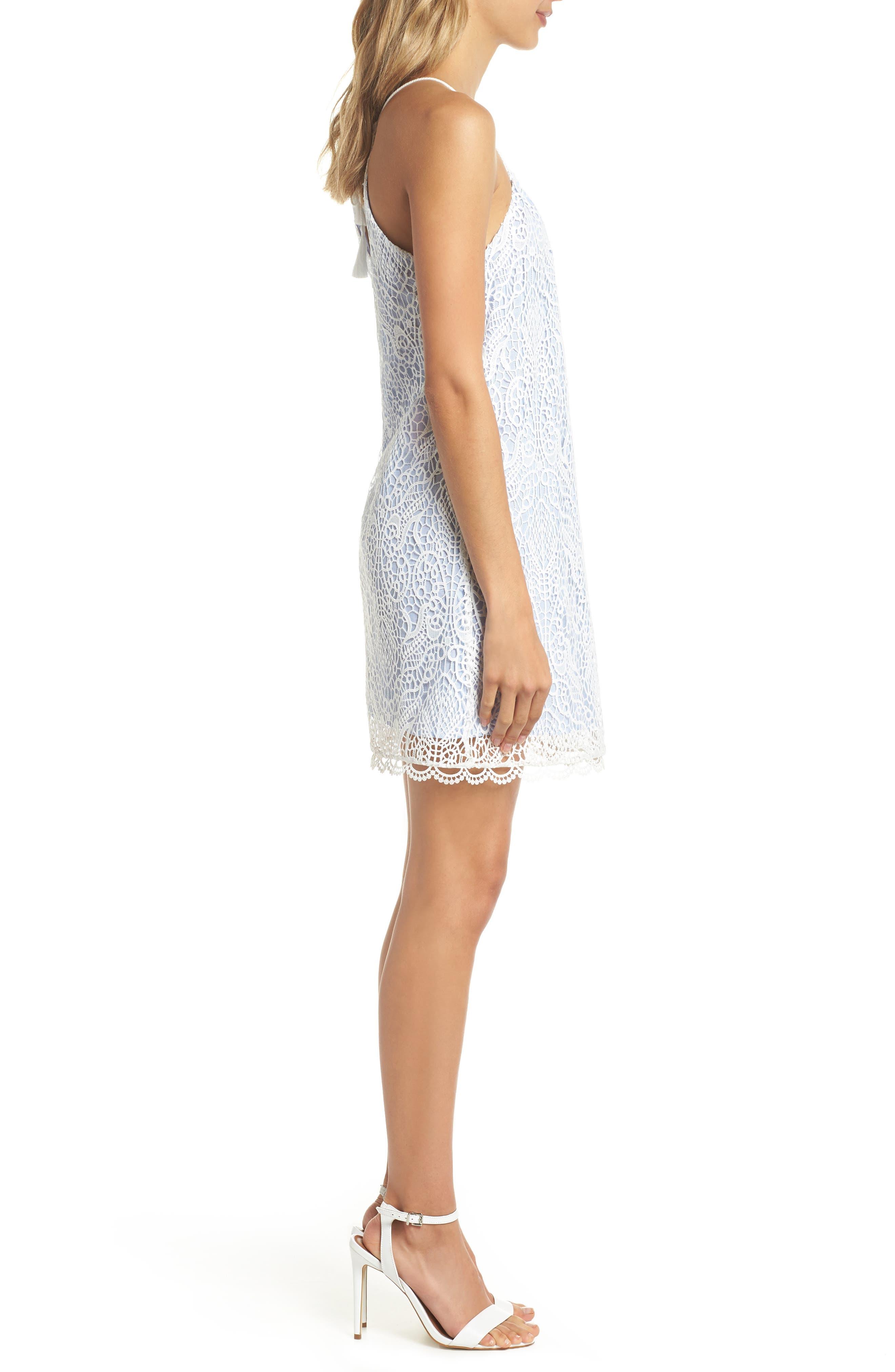 Pinstripe Cotton Lace Shift Dress,                             Alternate thumbnail 3, color,                             110