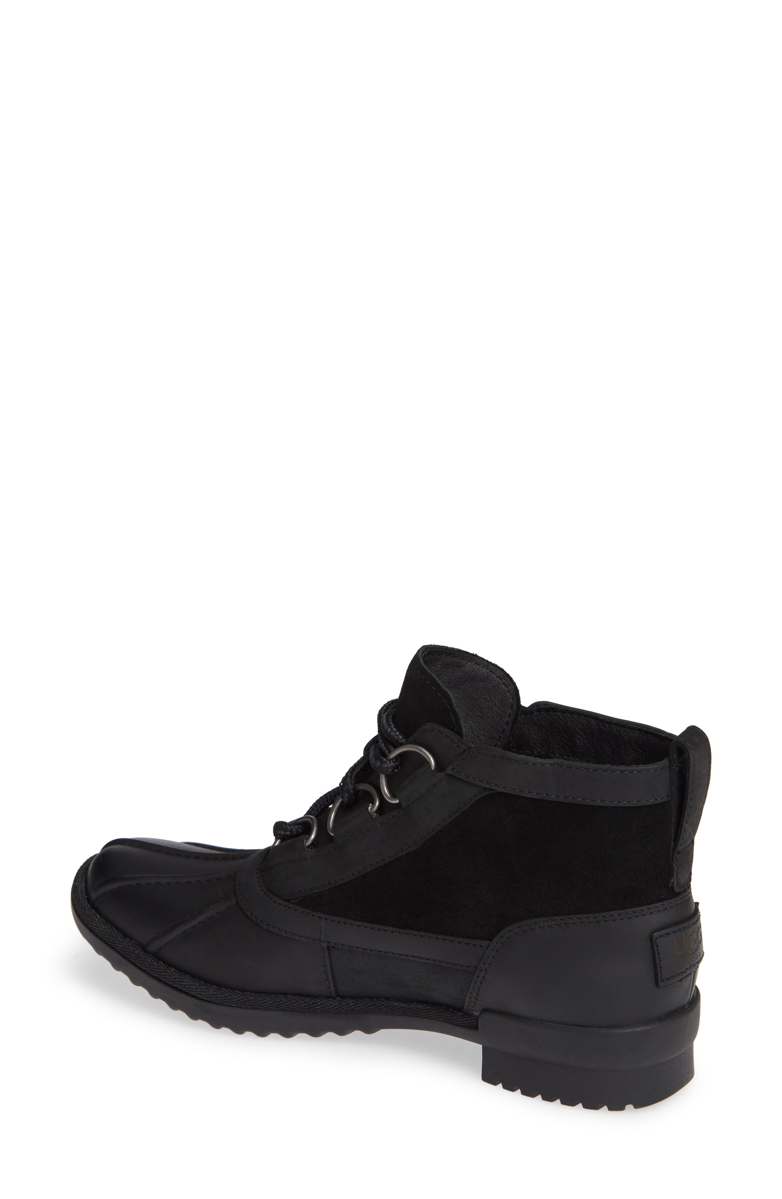 Heather Waterproof Lace-Up Bootie,                             Alternate thumbnail 2, color,                             BLACK LEATHER