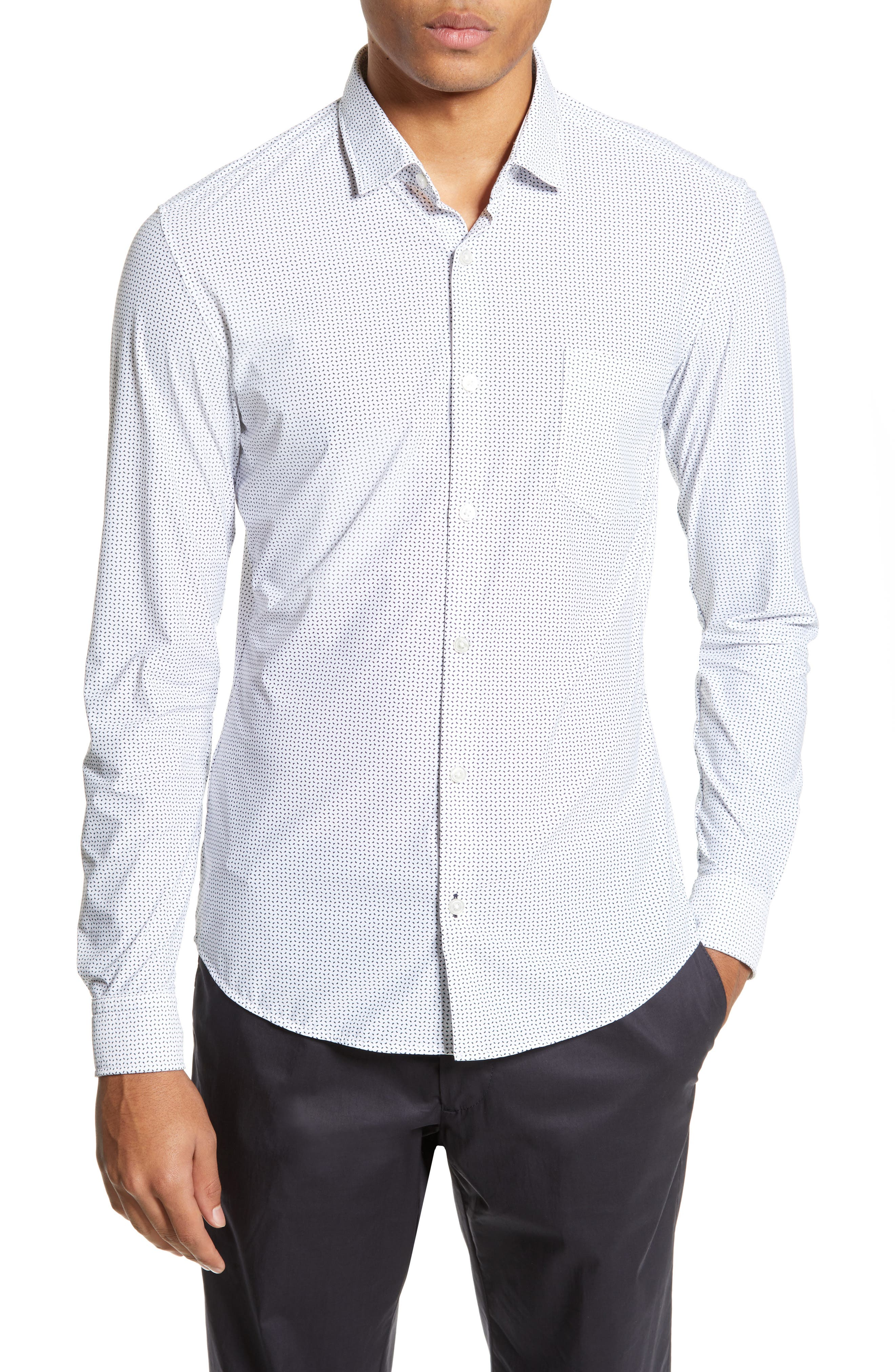 Rikki Slim Fit Microprint Sport Shirt, Main, color, WHITE MICRO