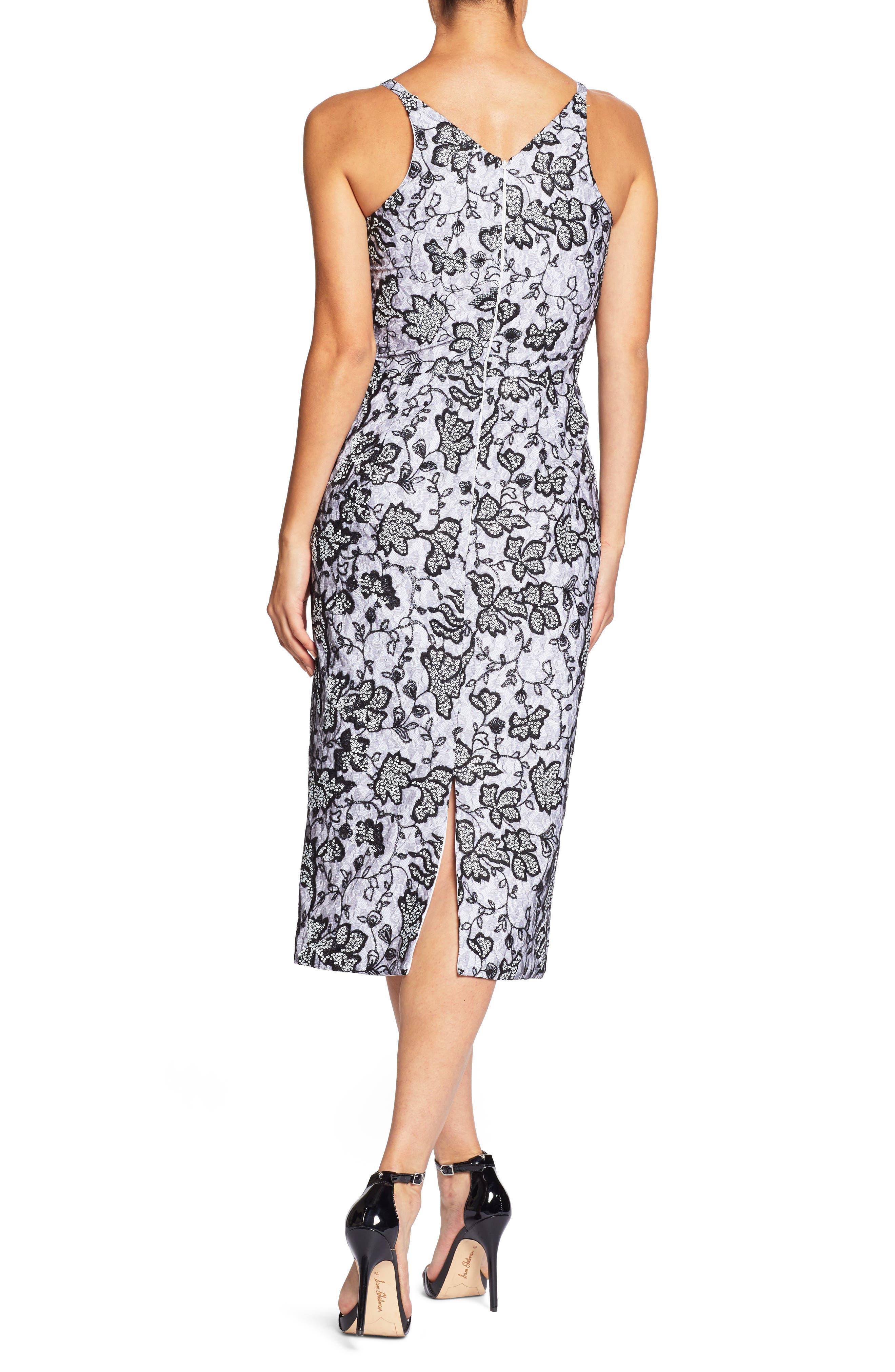 Nadia Plunge V-Neck Lace Dress,                             Alternate thumbnail 2, color,                             WHITE/ BLACK