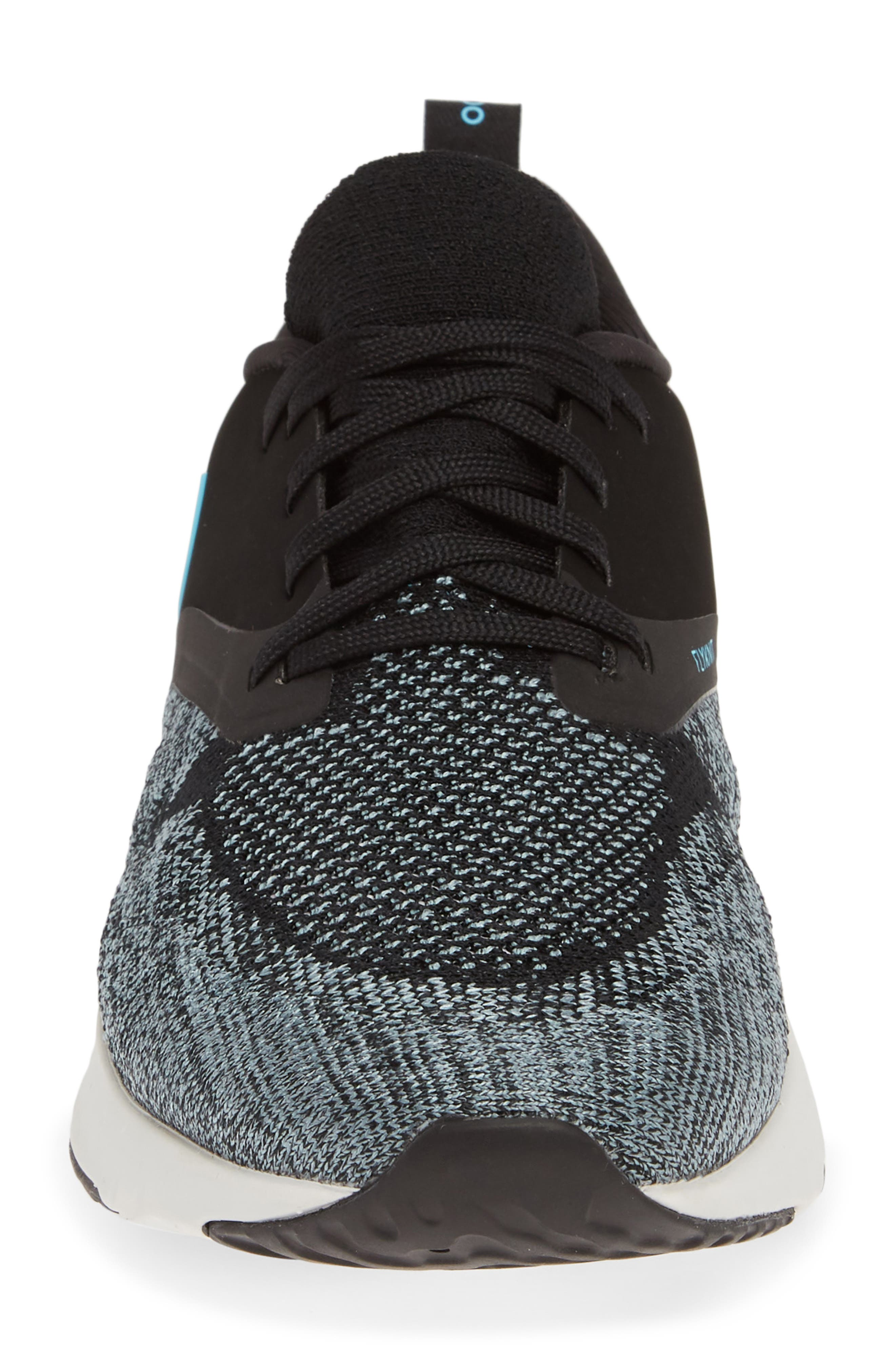 NIKE,                             Odyssey React 2 Flyknit Running Shoe,                             Alternate thumbnail 4, color,                             BLACK/ BLUE FURY/ AVIATOR GREY