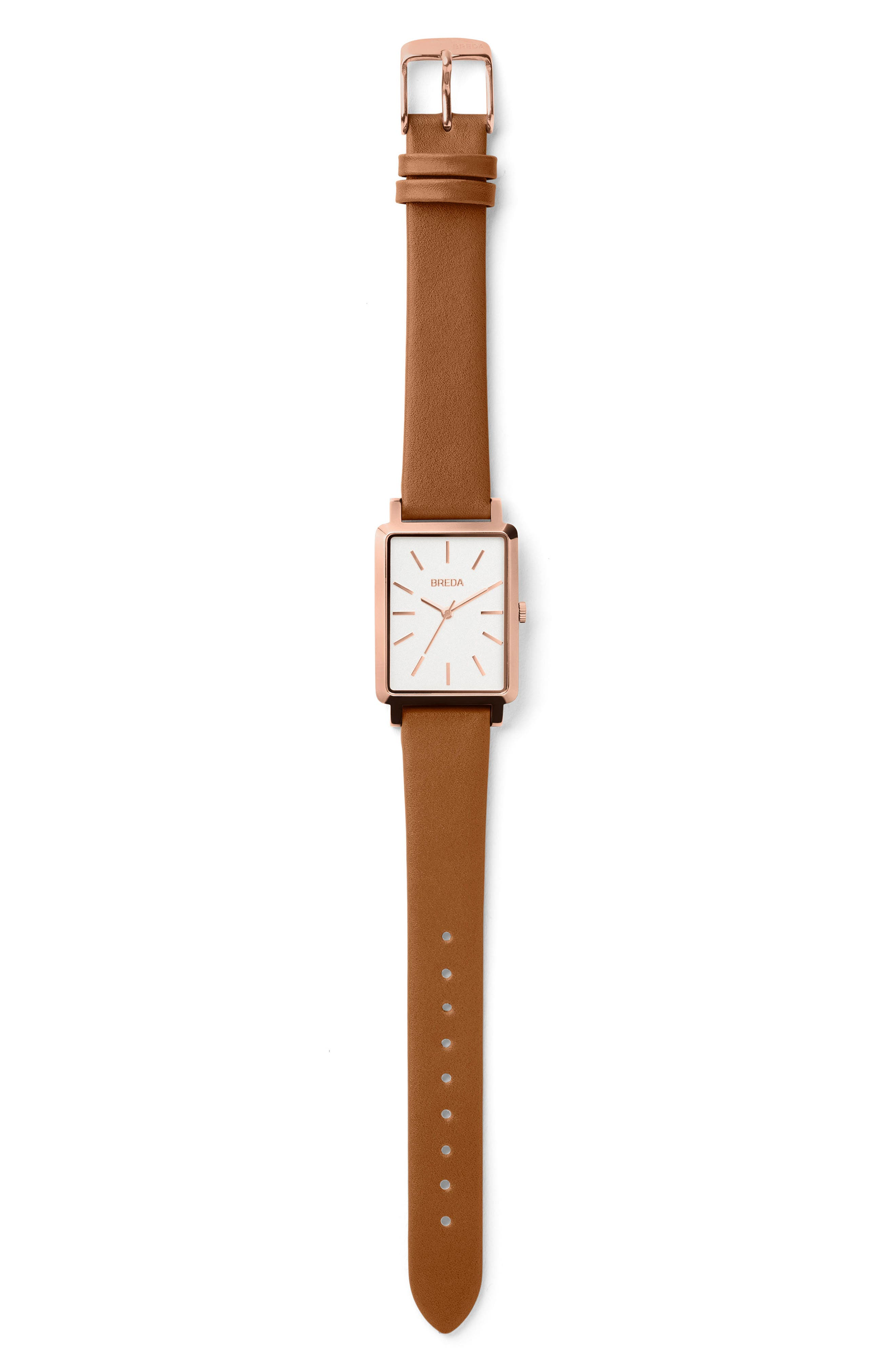 Baer Rectangular Leather Strap Watch, 26mm,                             Alternate thumbnail 3, color,                             BROWN/ ROSE GOLD